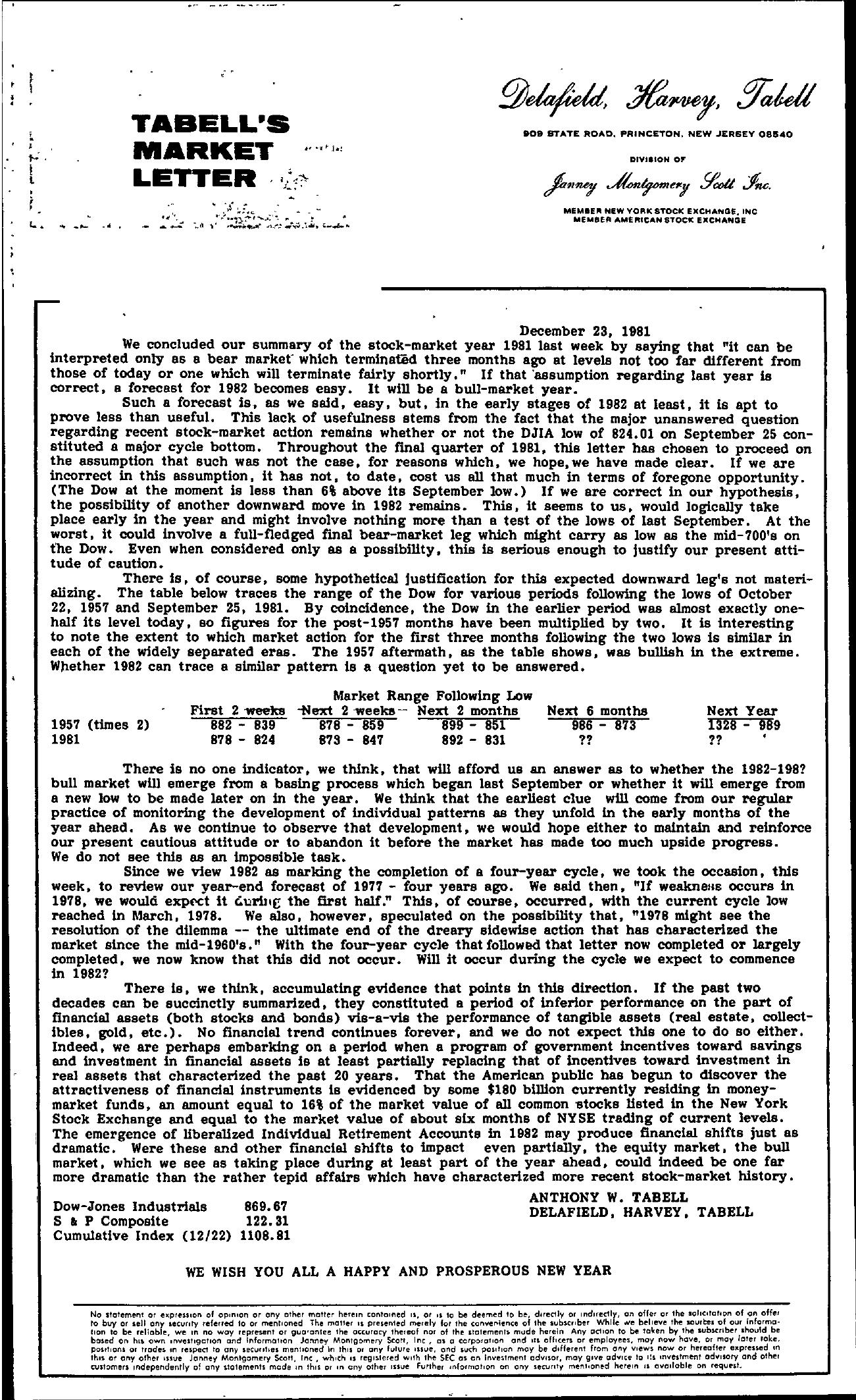 Tabell's Market Letter - December 23, 1981