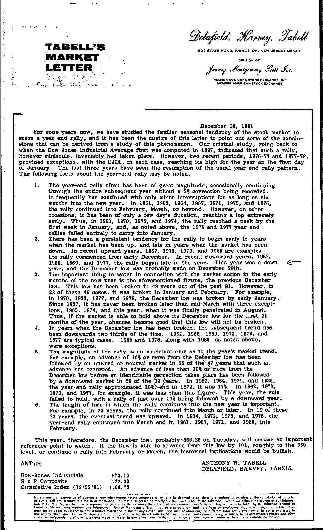 Tabell's Market Letter - December 30, 1981