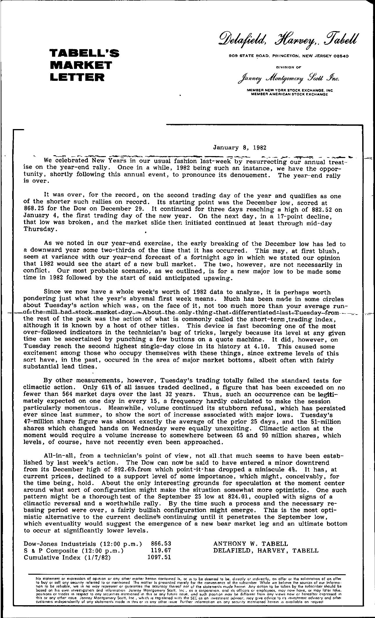 Tabell's Market Letter - January 08, 1982