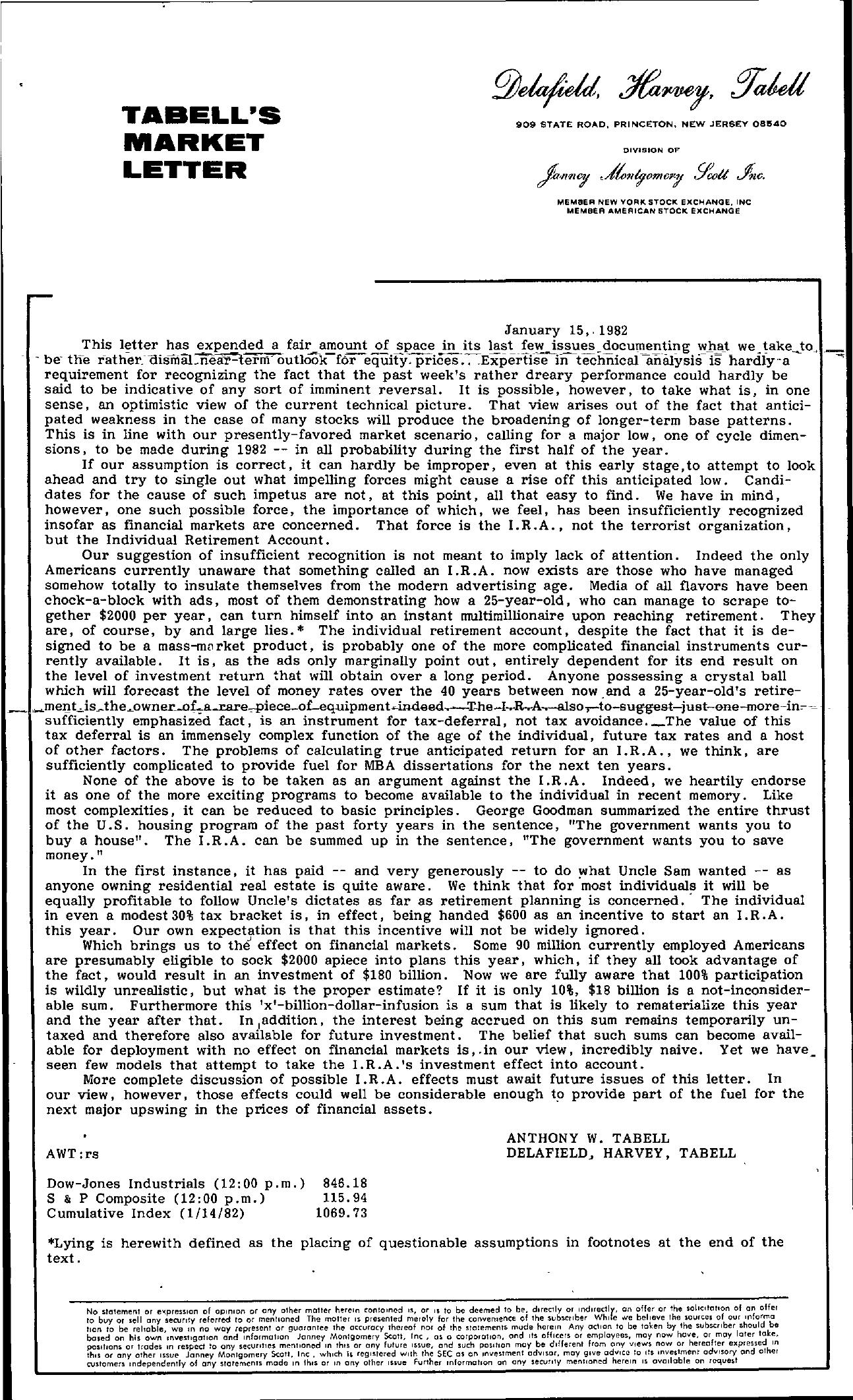 Tabell's Market Letter - January 15, 1982