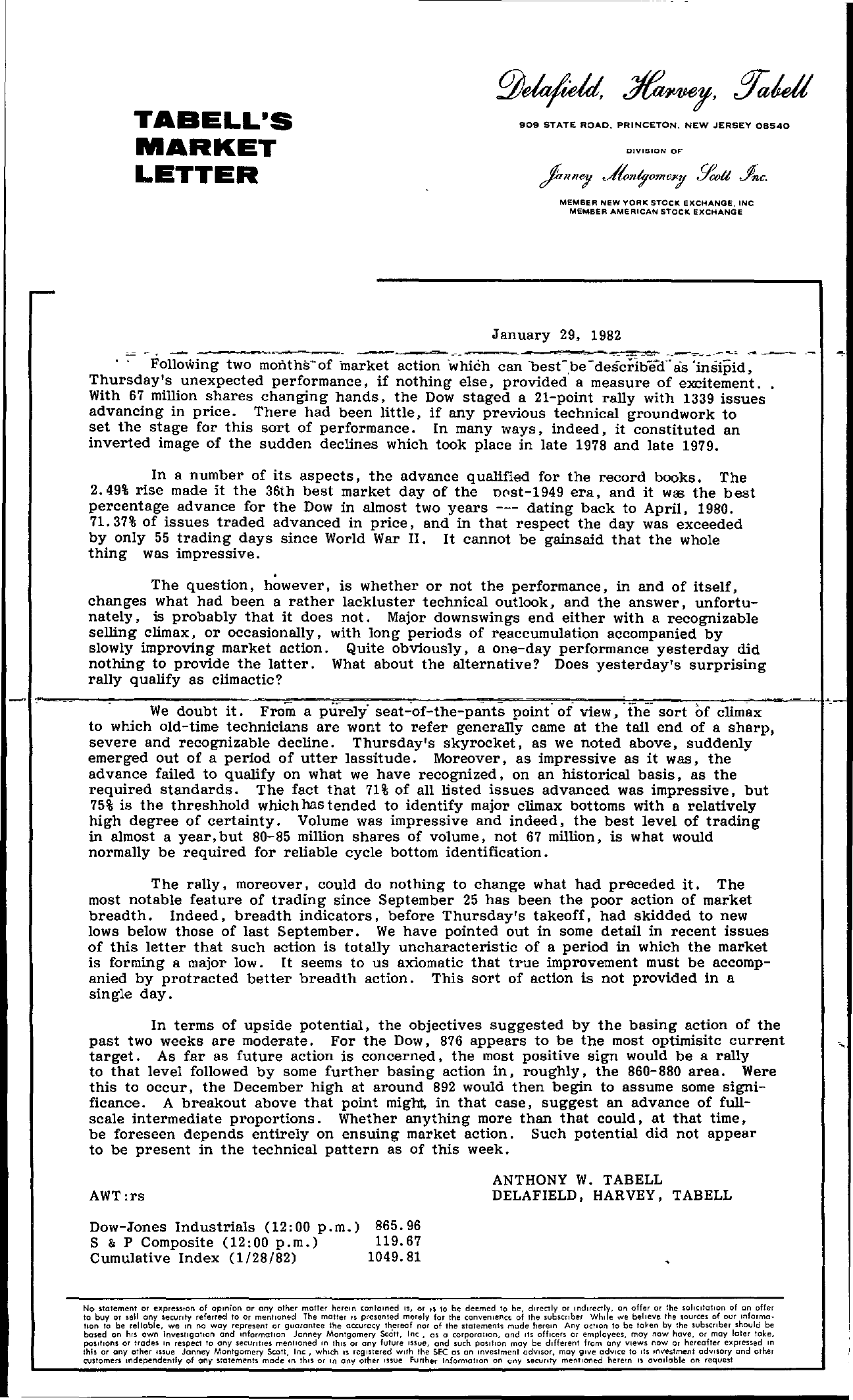 Tabell's Market Letter - January 29, 1982