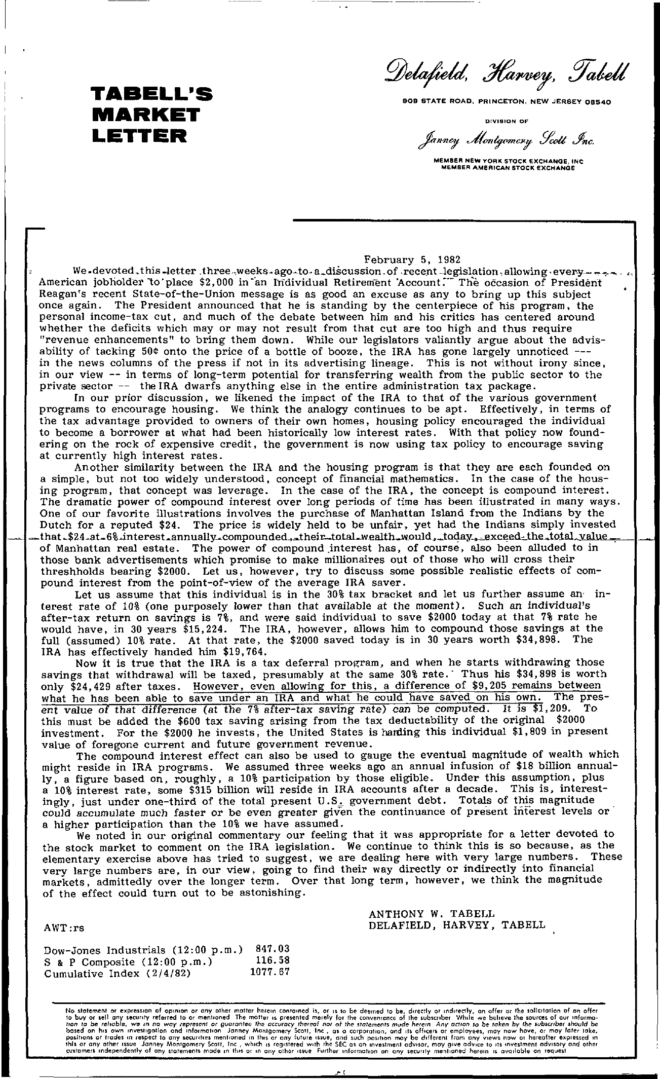 Tabell's Market Letter - February 05, 1982