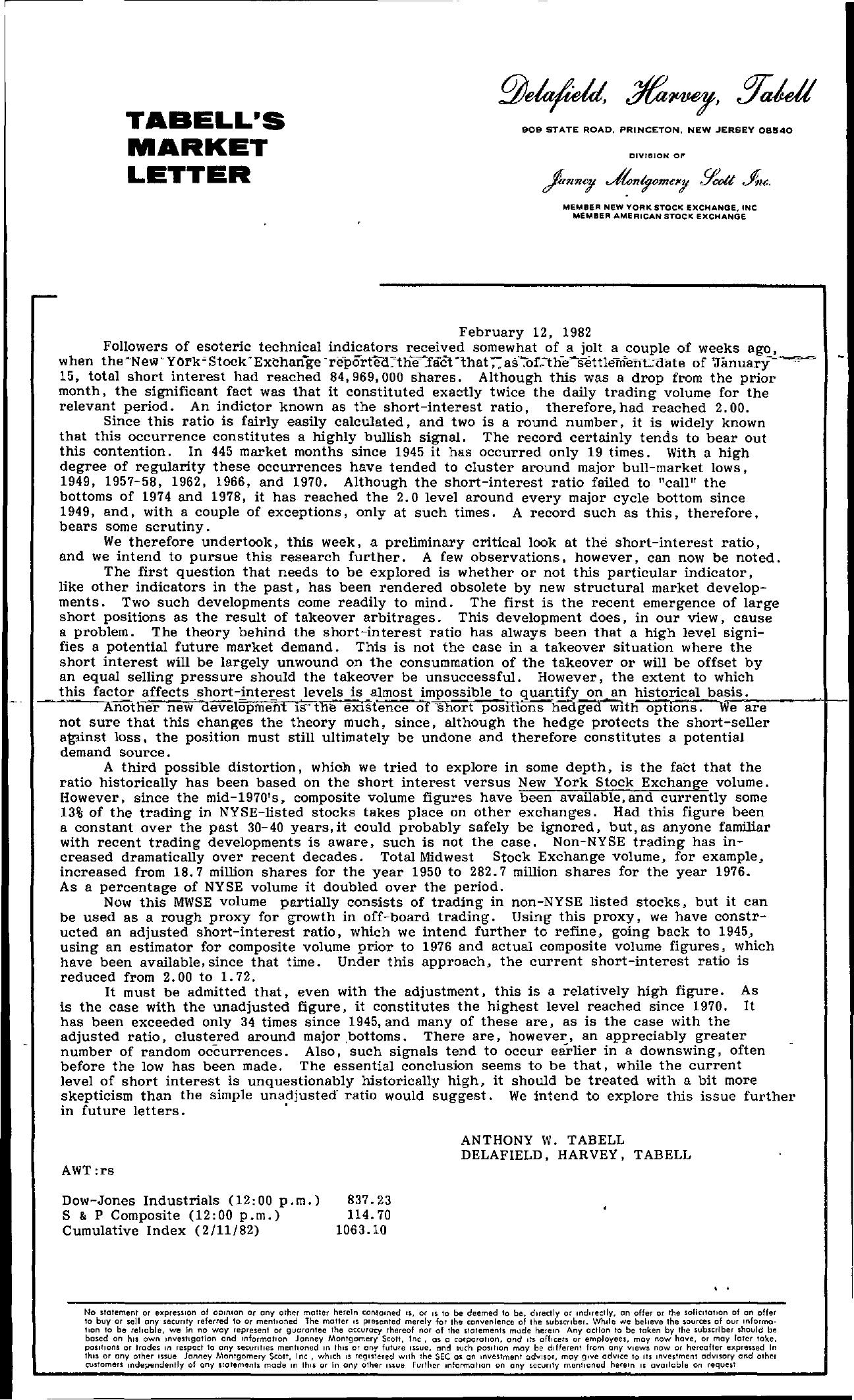 Tabell's Market Letter - February 12, 1982