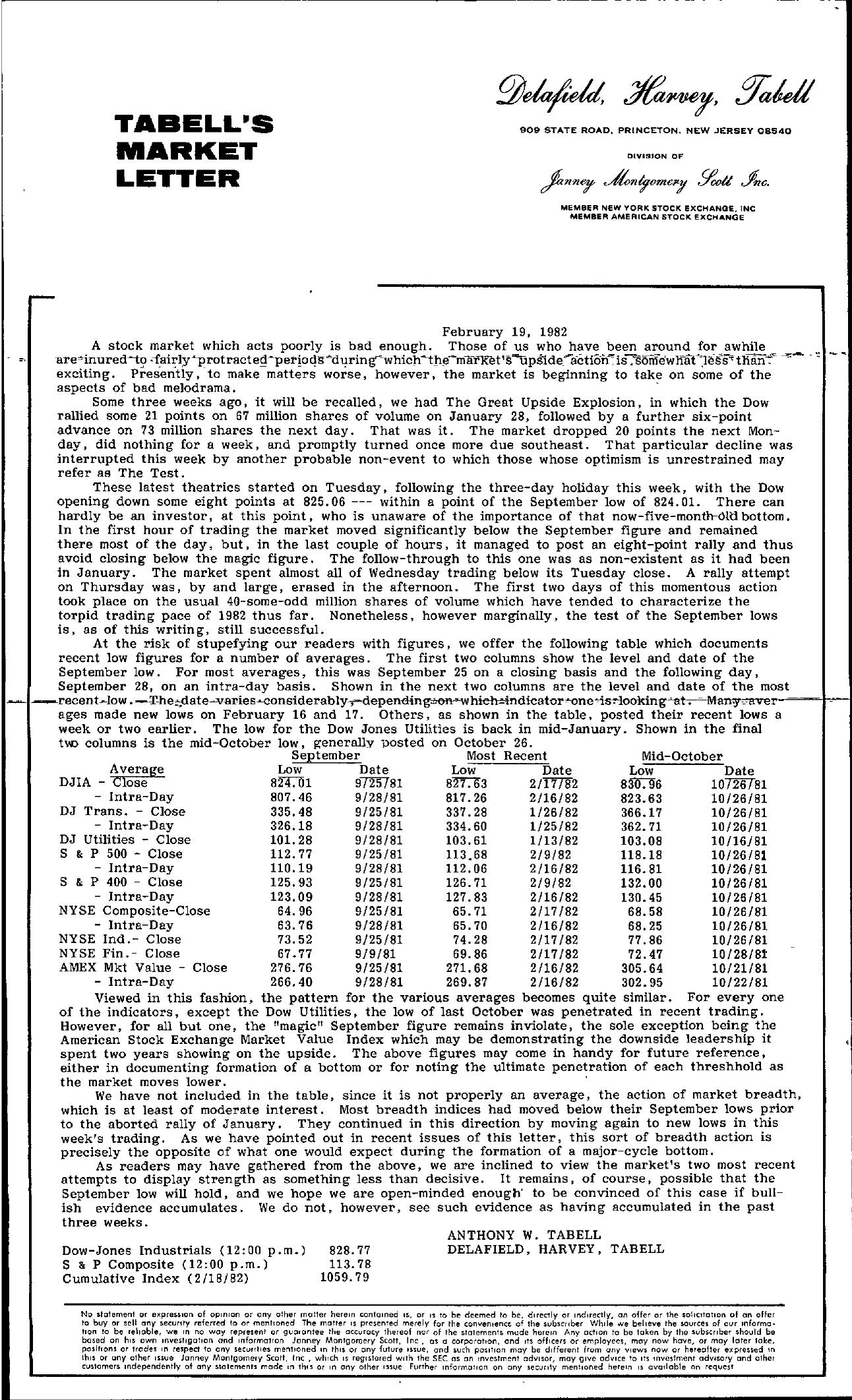 Tabell's Market Letter - February 19, 1982