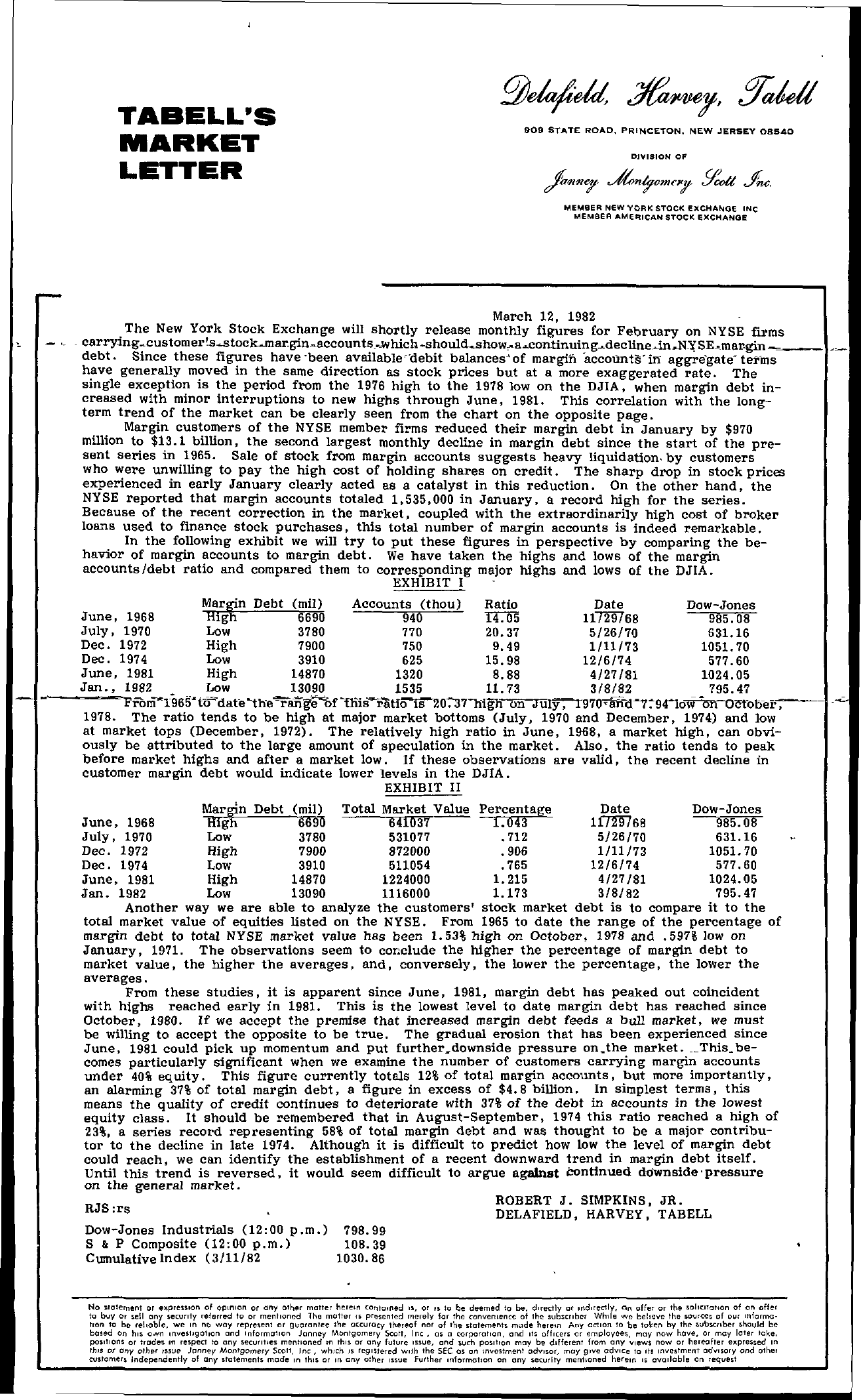 Tabell's Market Letter - March 12, 1982 page 1