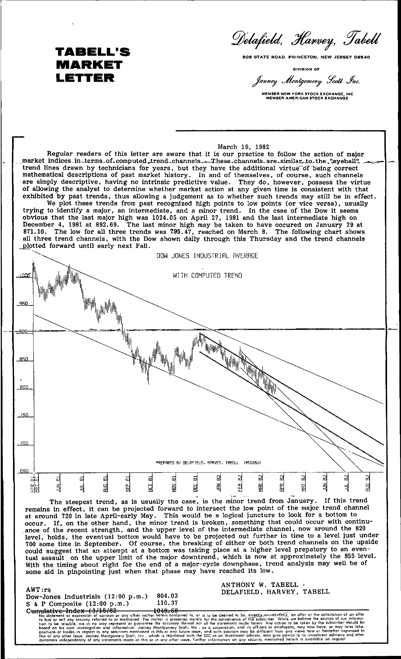 Tabell's Market Letter - March 19, 1982
