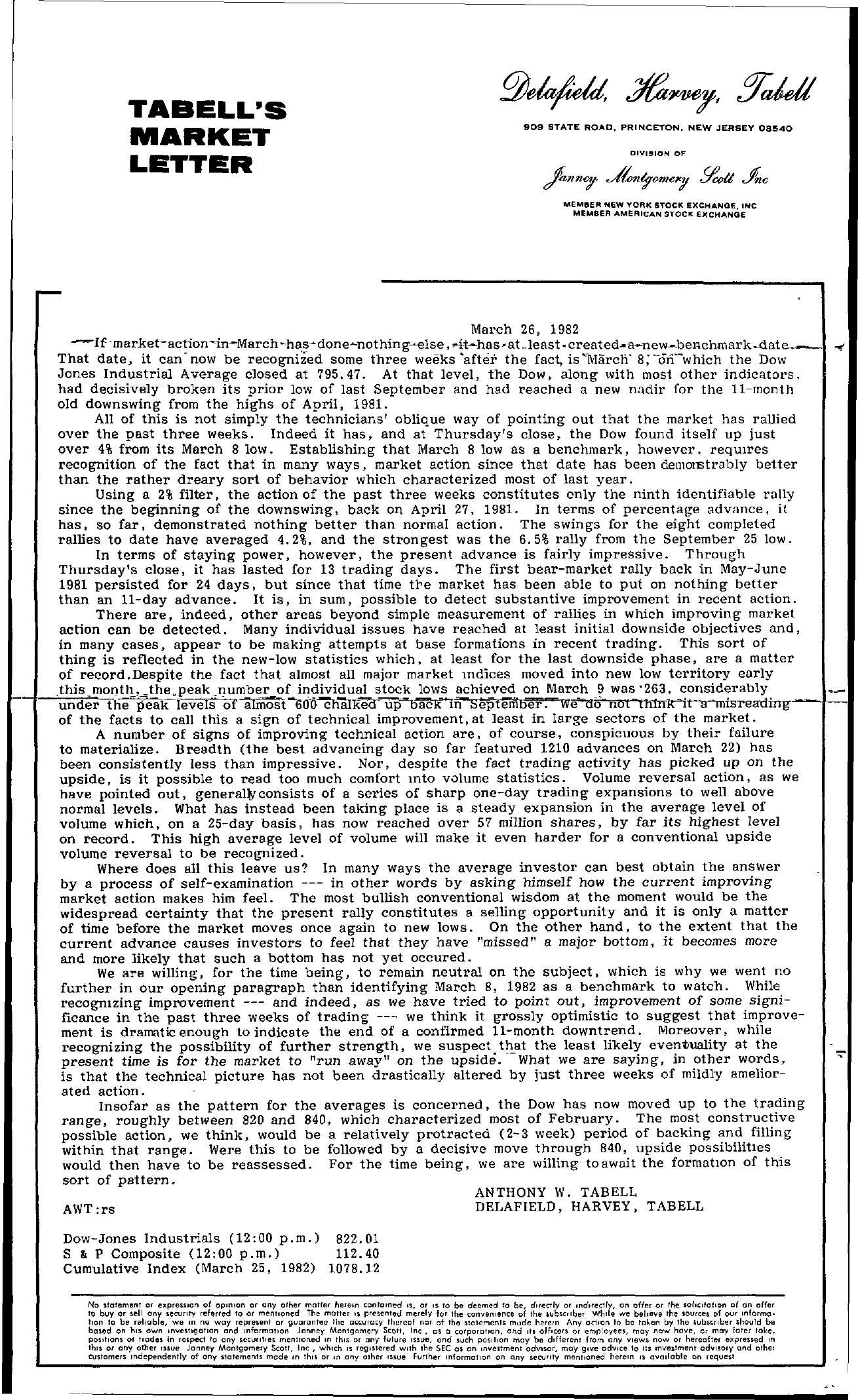 Tabell's Market Letter - March 26, 1982