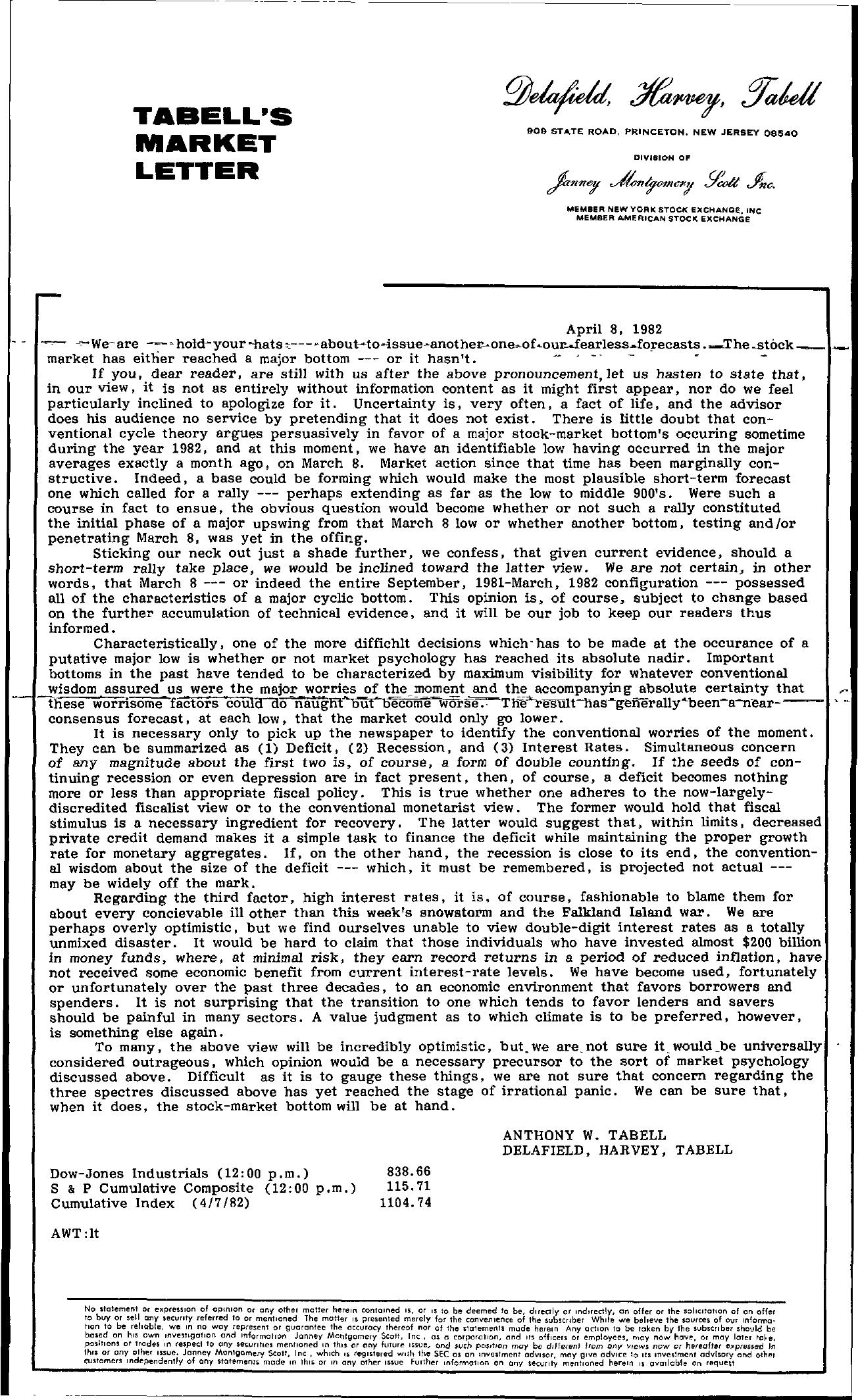 Tabell's Market Letter - April 08, 1982