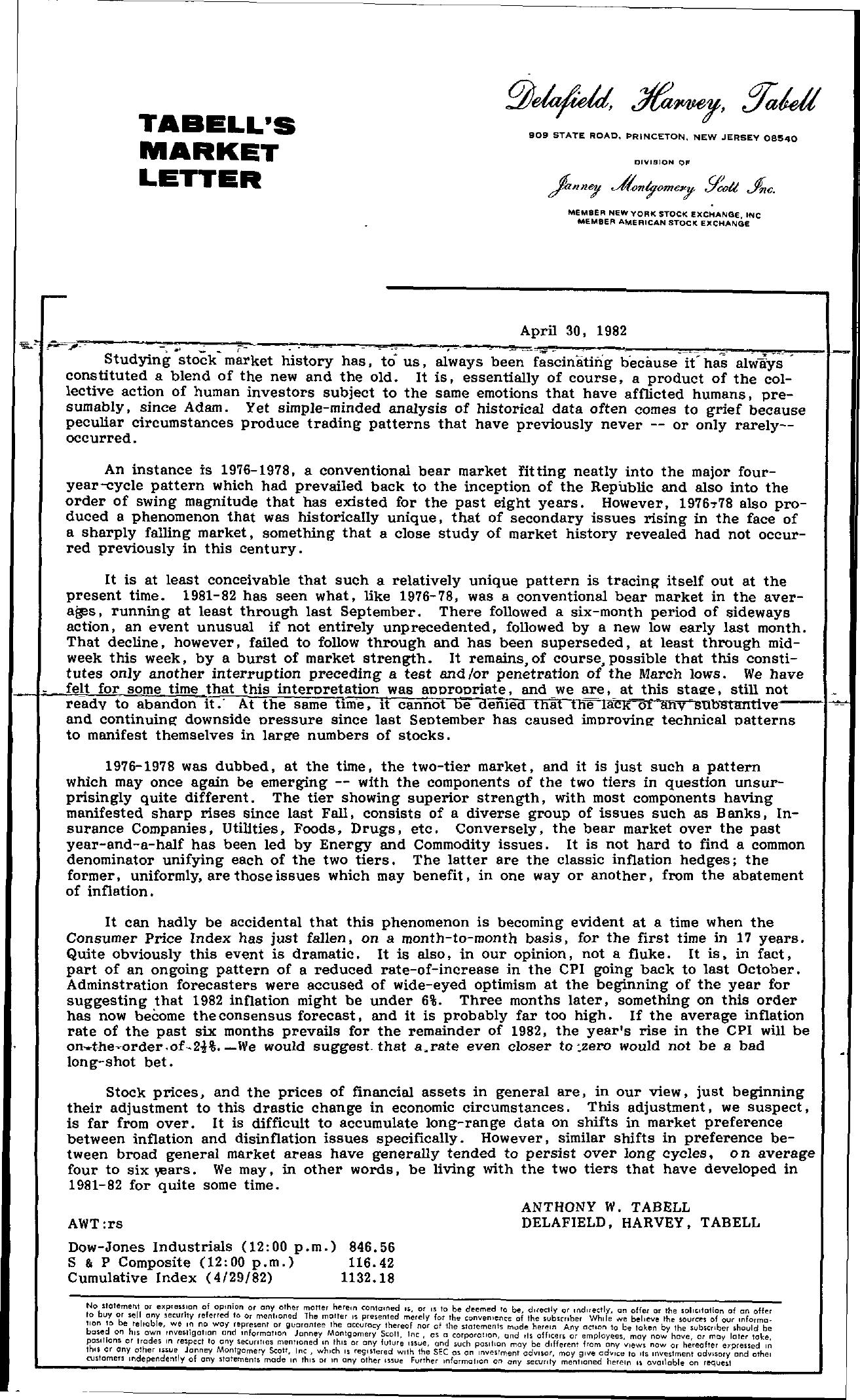 Tabell's Market Letter - April 30, 1982