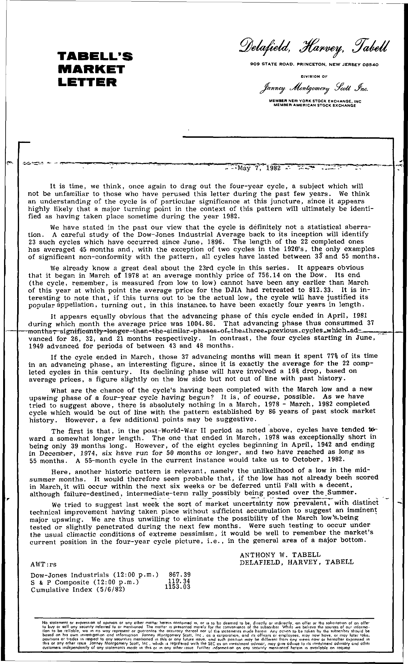 Tabell's Market Letter - May 07, 1982