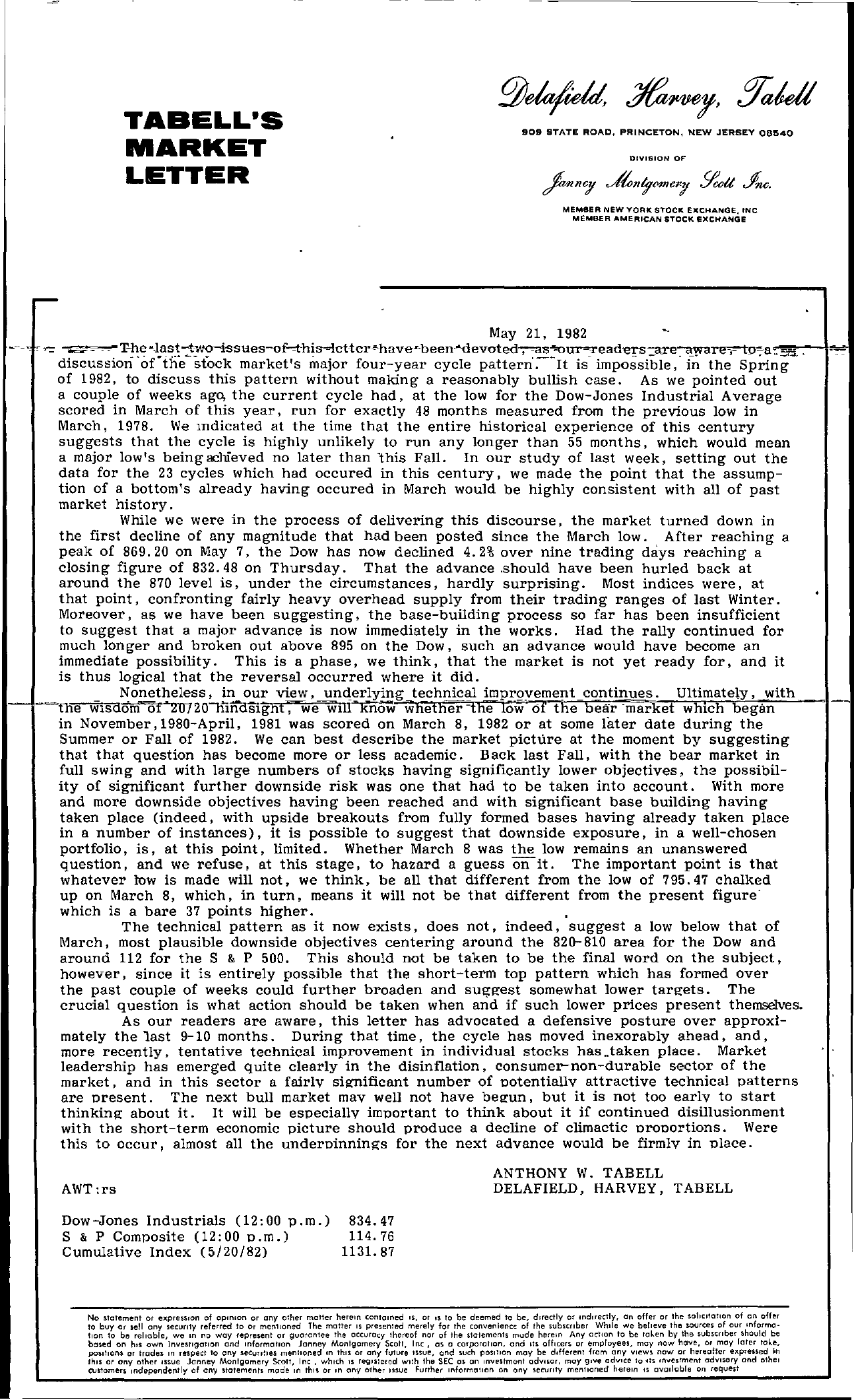 Tabell's Market Letter - May 21, 1982