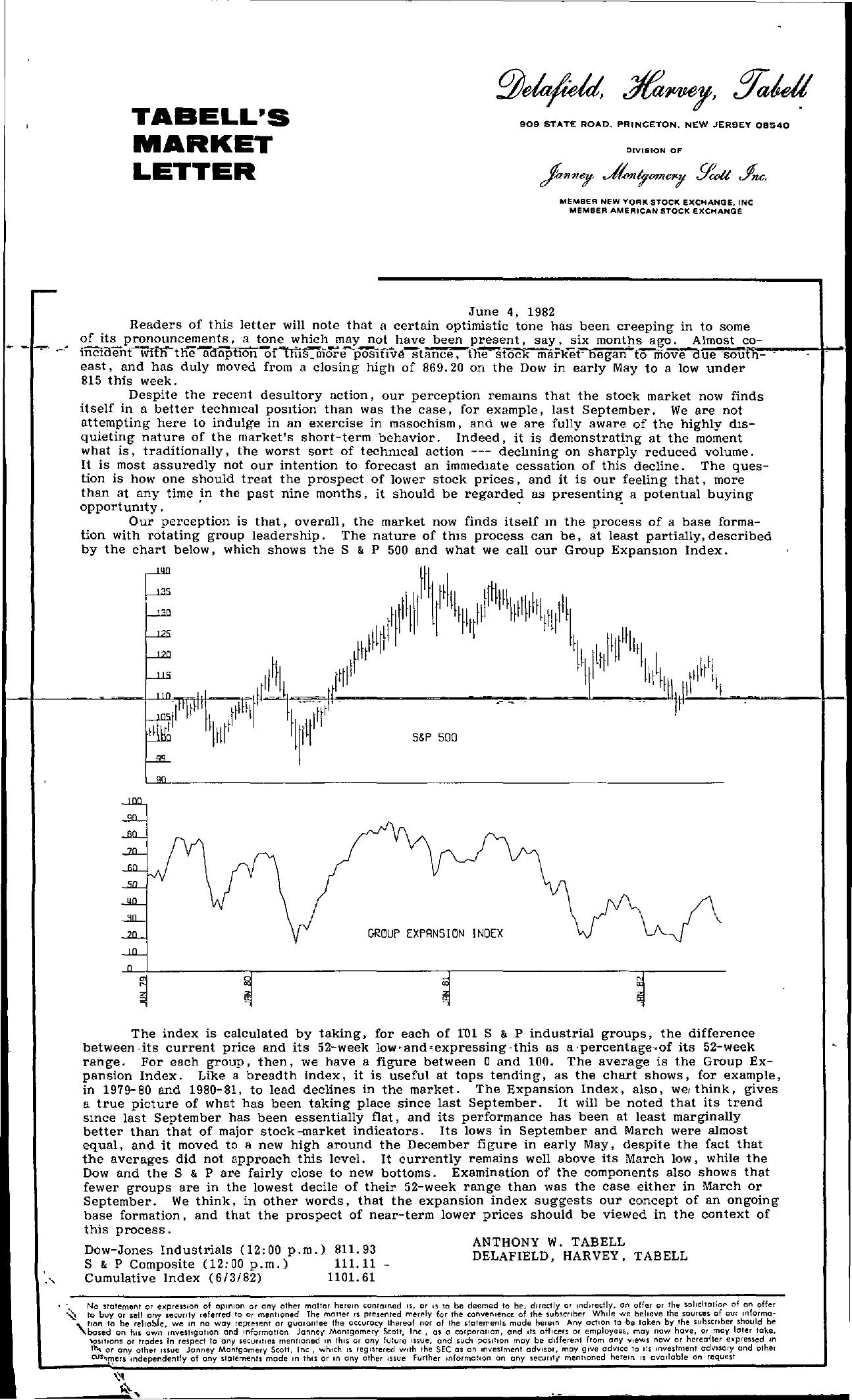 Tabell's Market Letter - June 04, 1982