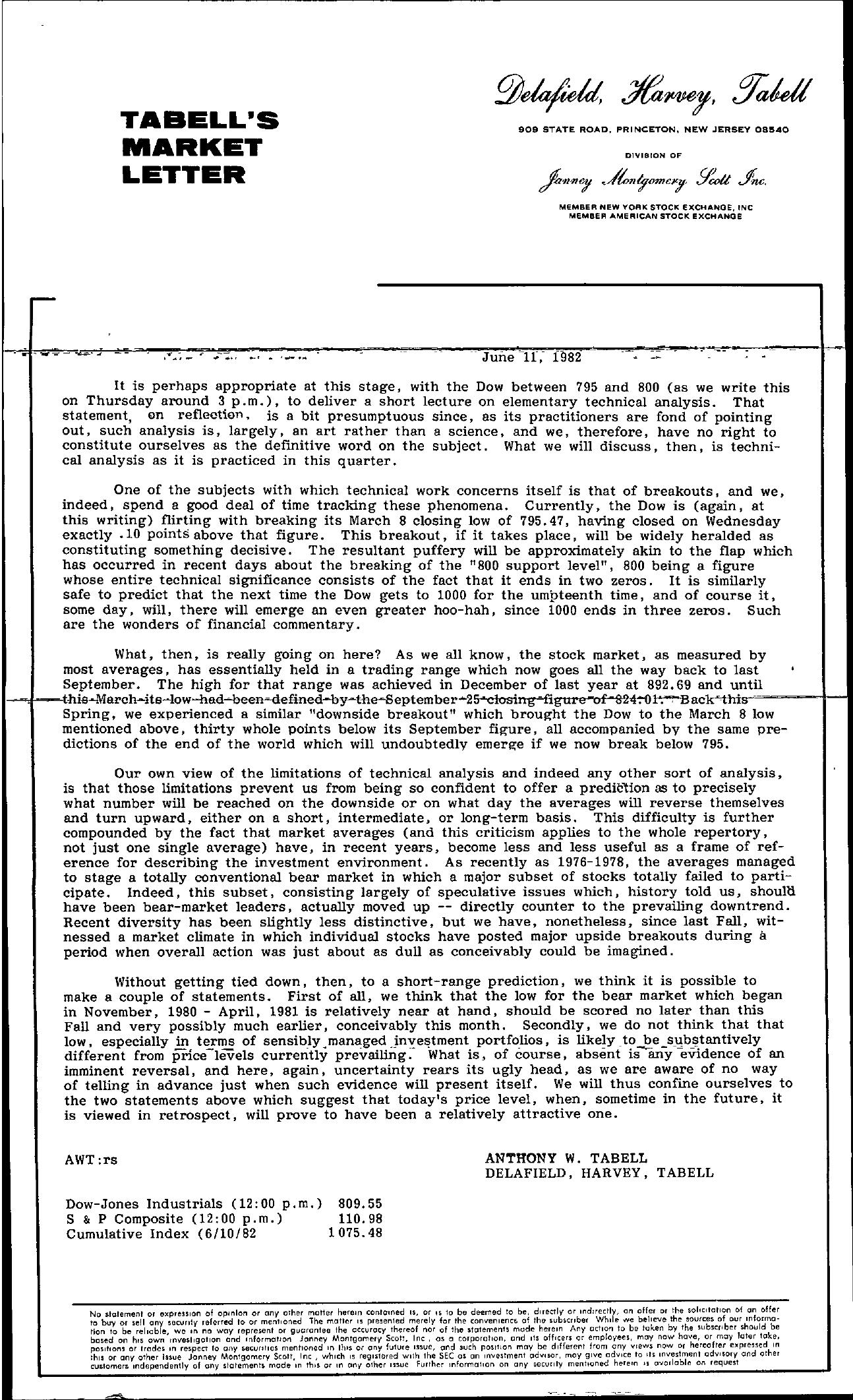 Tabell's Market Letter - June 11, 1982