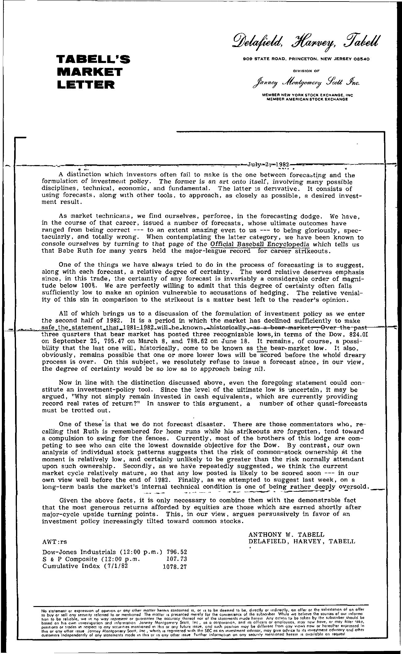 Tabell's Market Letter - July 02, 1982