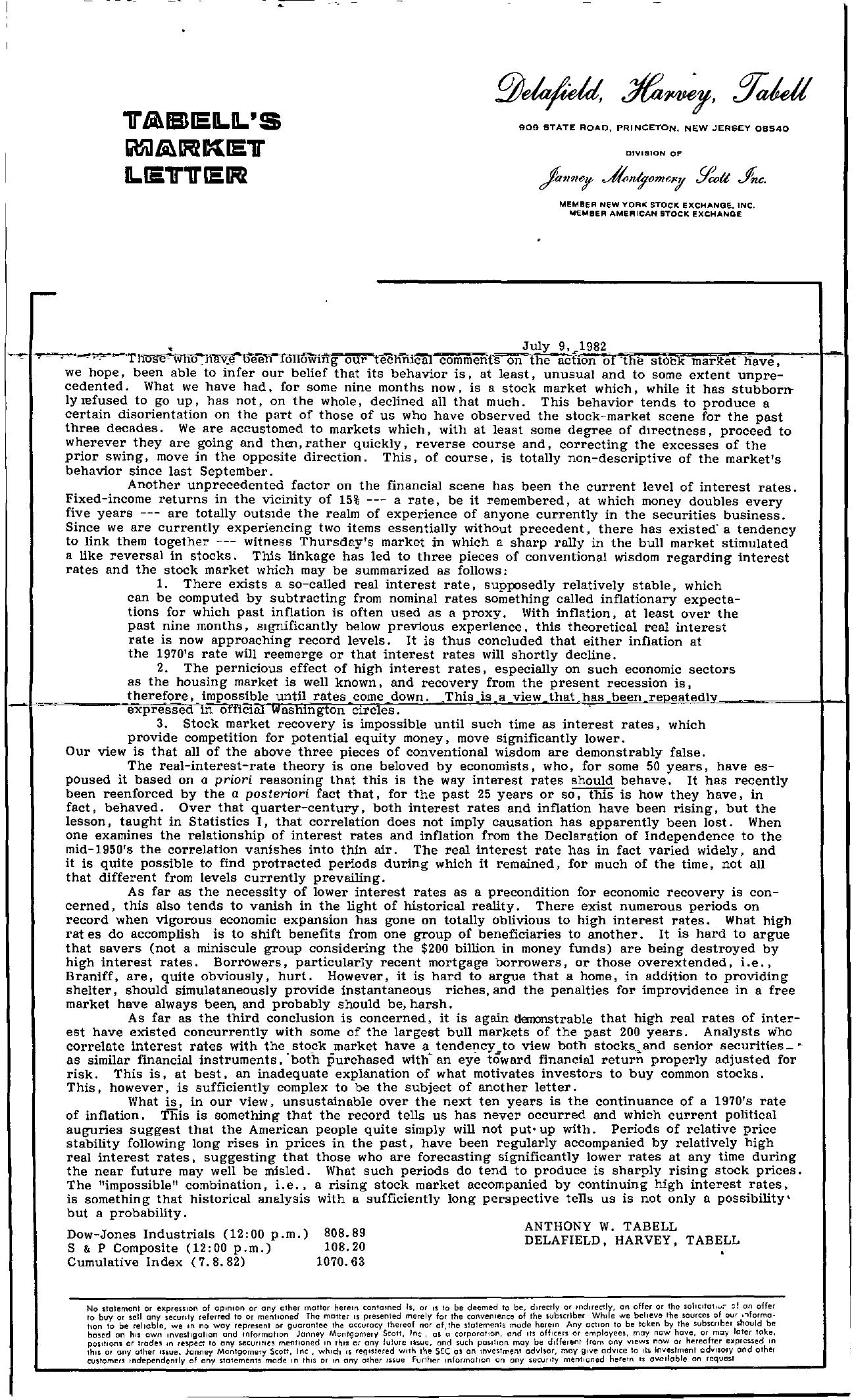 Tabell's Market Letter - July 09, 1982