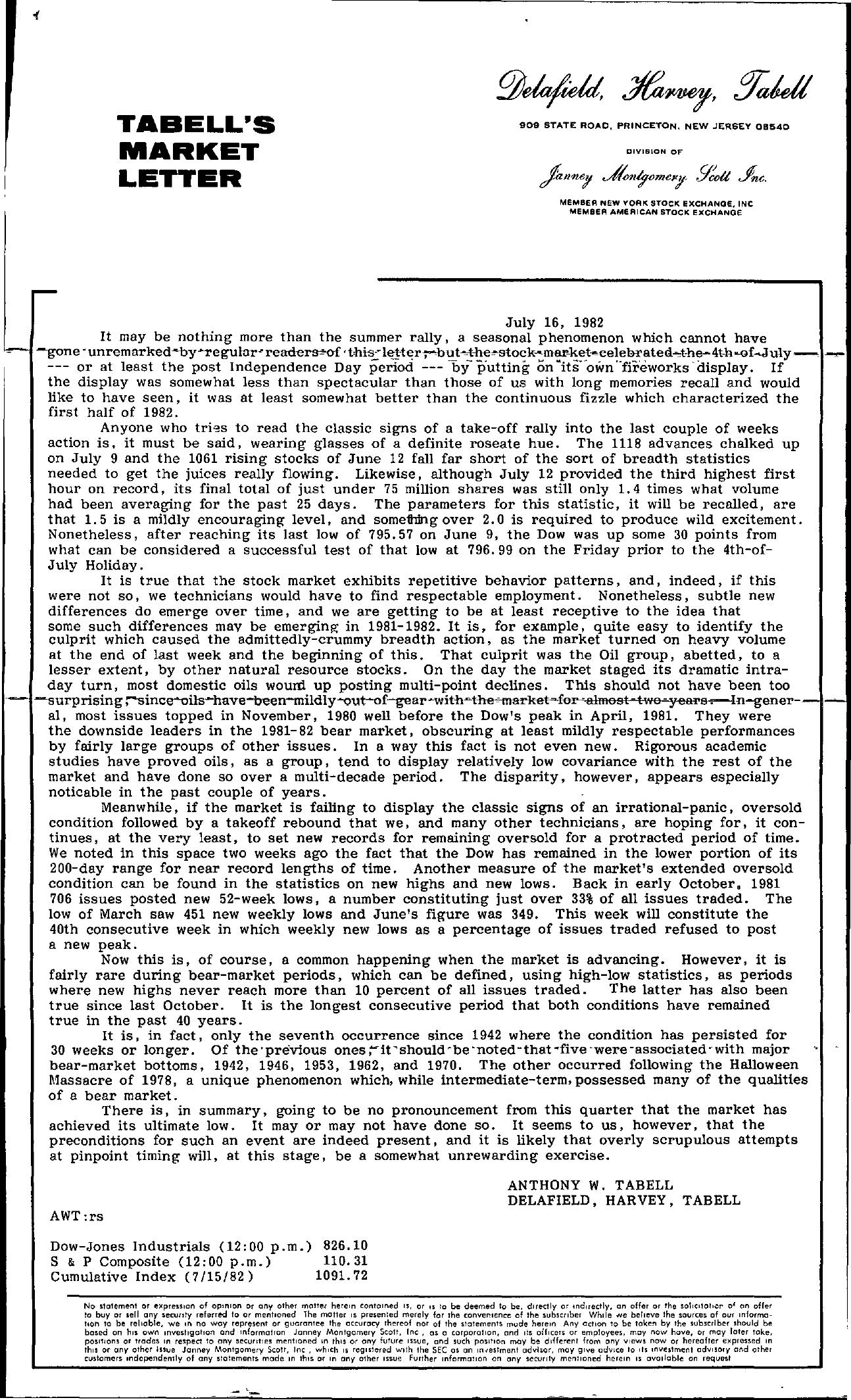 Tabell's Market Letter - July 16, 1982