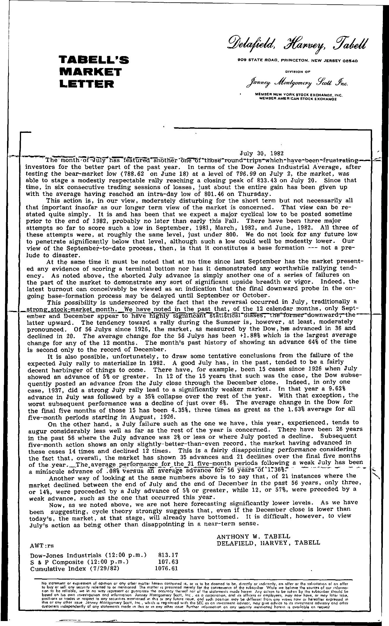 Tabell's Market Letter - July 30, 1982