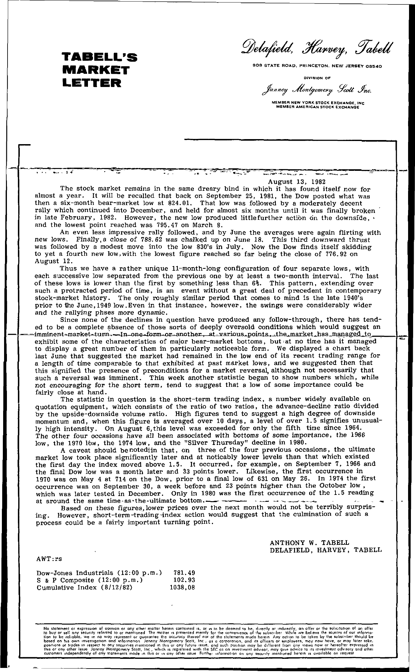 Tabell's Market Letter - August 13, 1982