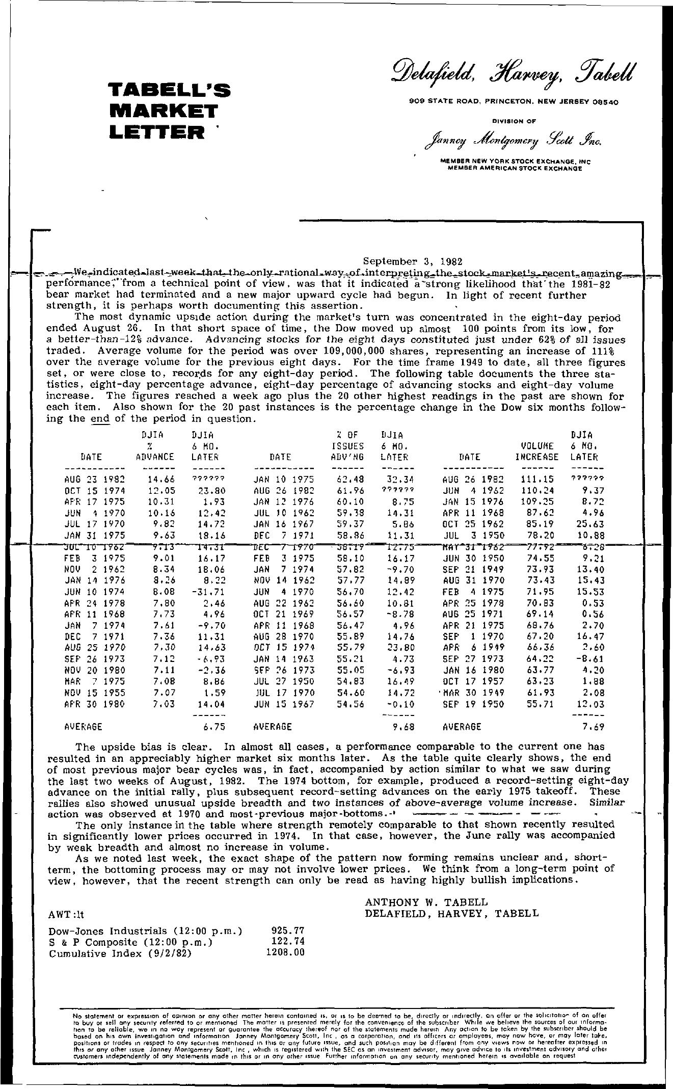 Tabell's Market Letter - September 03, 1982