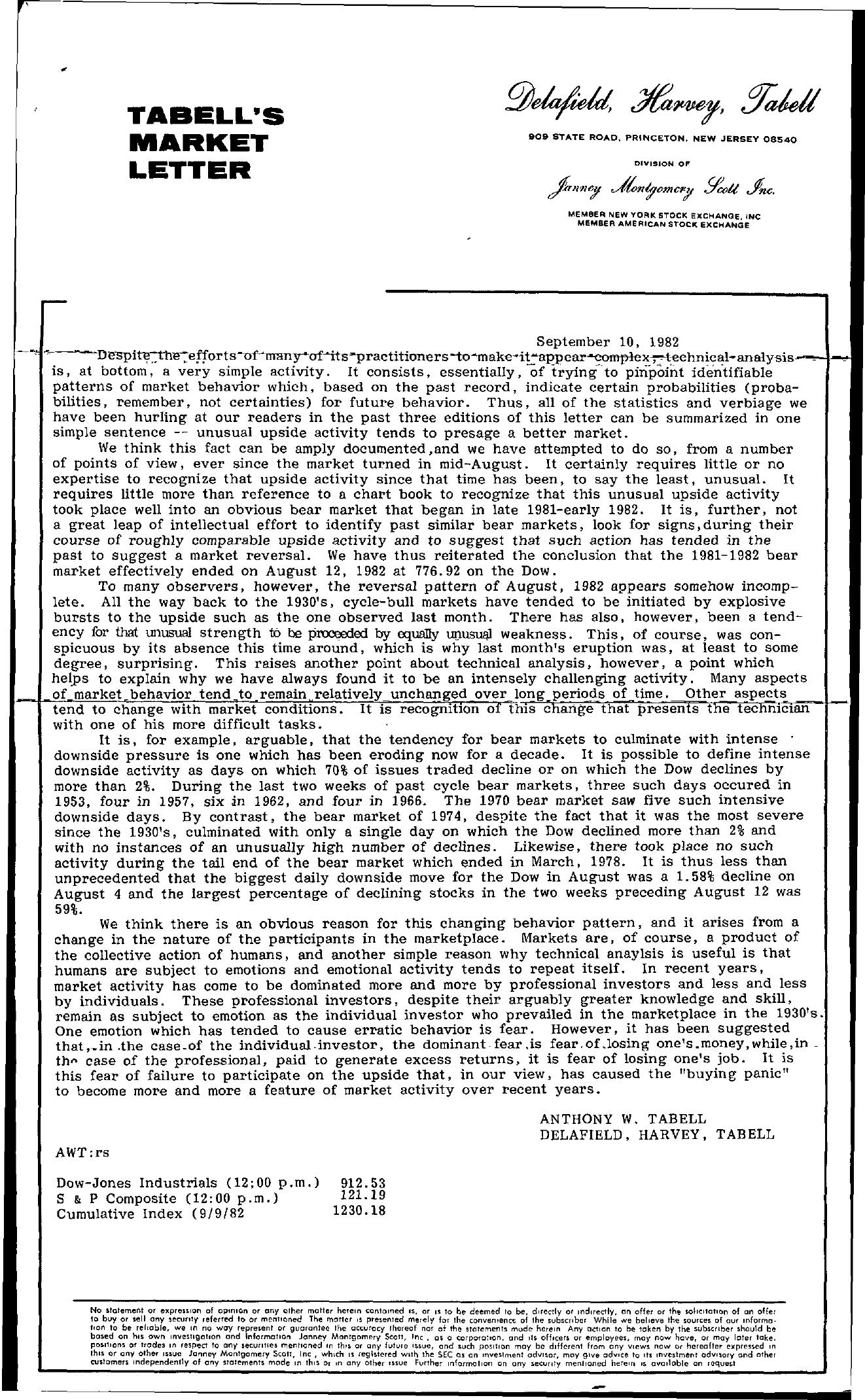 Tabell's Market Letter - September 10, 1982