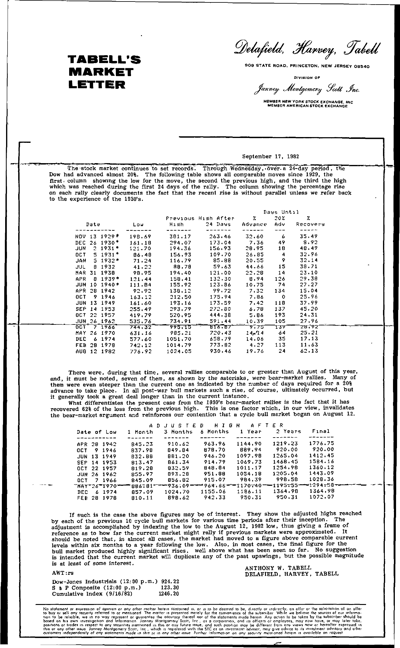 Tabell's Market Letter - September 17, 1982