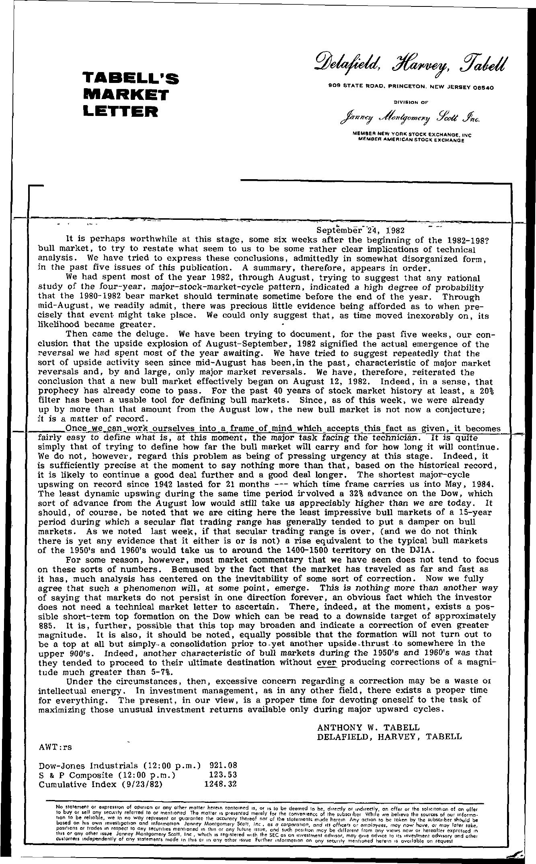 Tabell's Market Letter - September 24, 1982