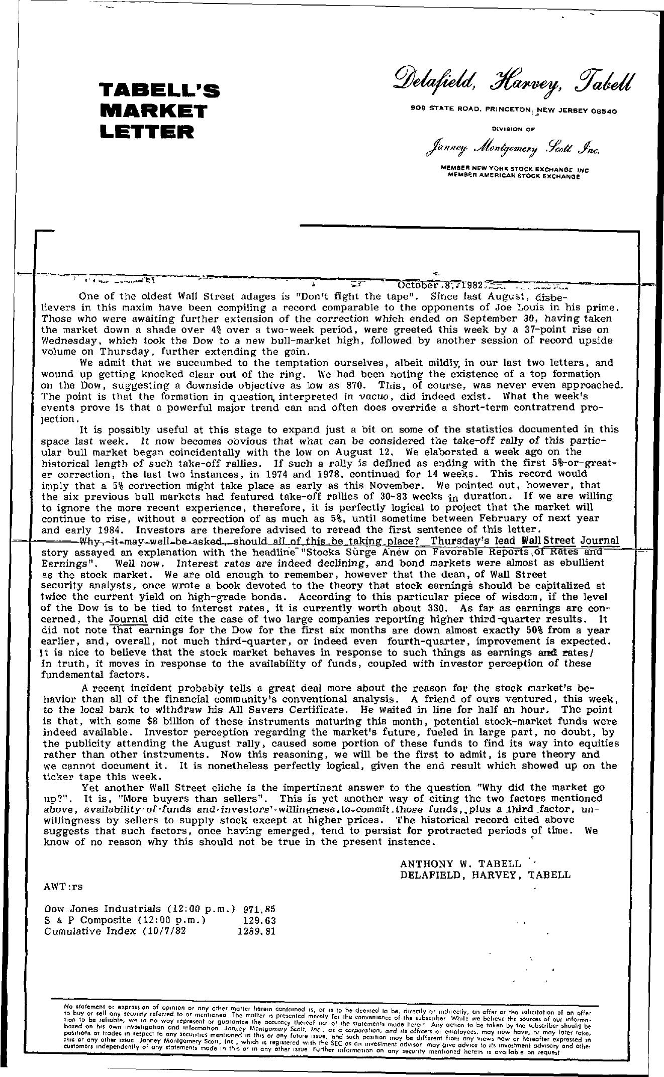 Tabell's Market Letter - October 08, 1982