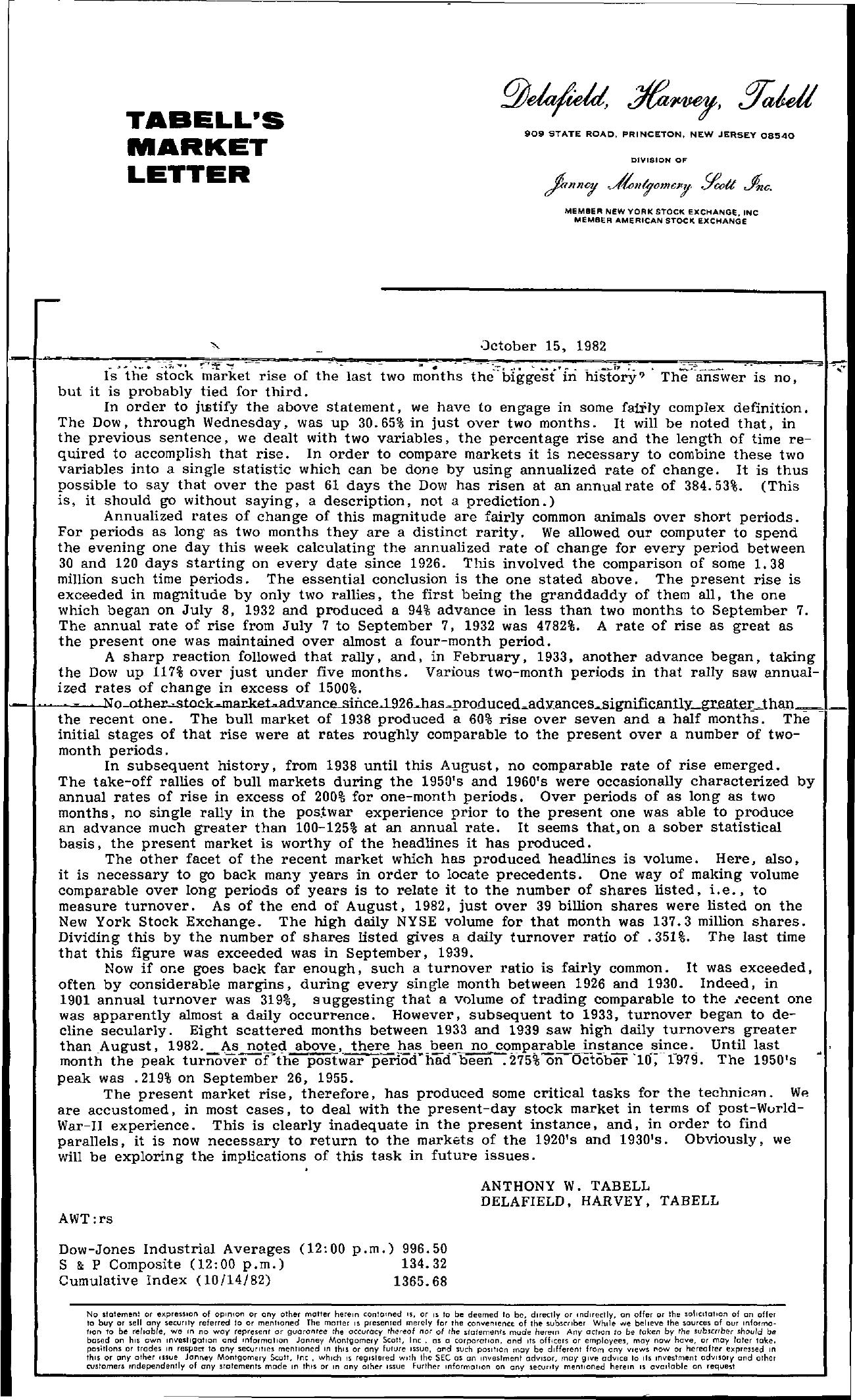 Tabell's Market Letter - October 15, 1982