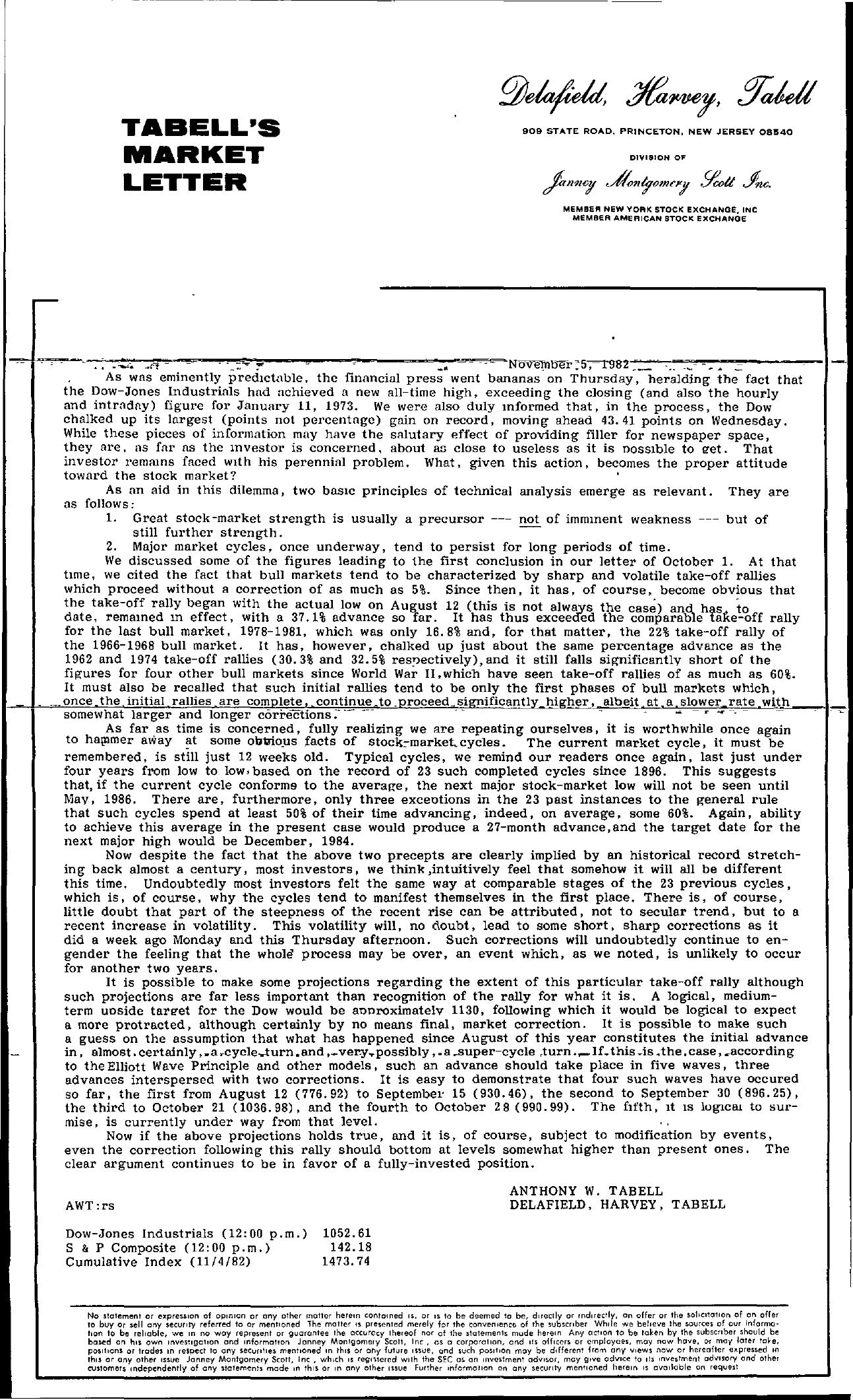 Tabell's Market Letter - November 05, 1982