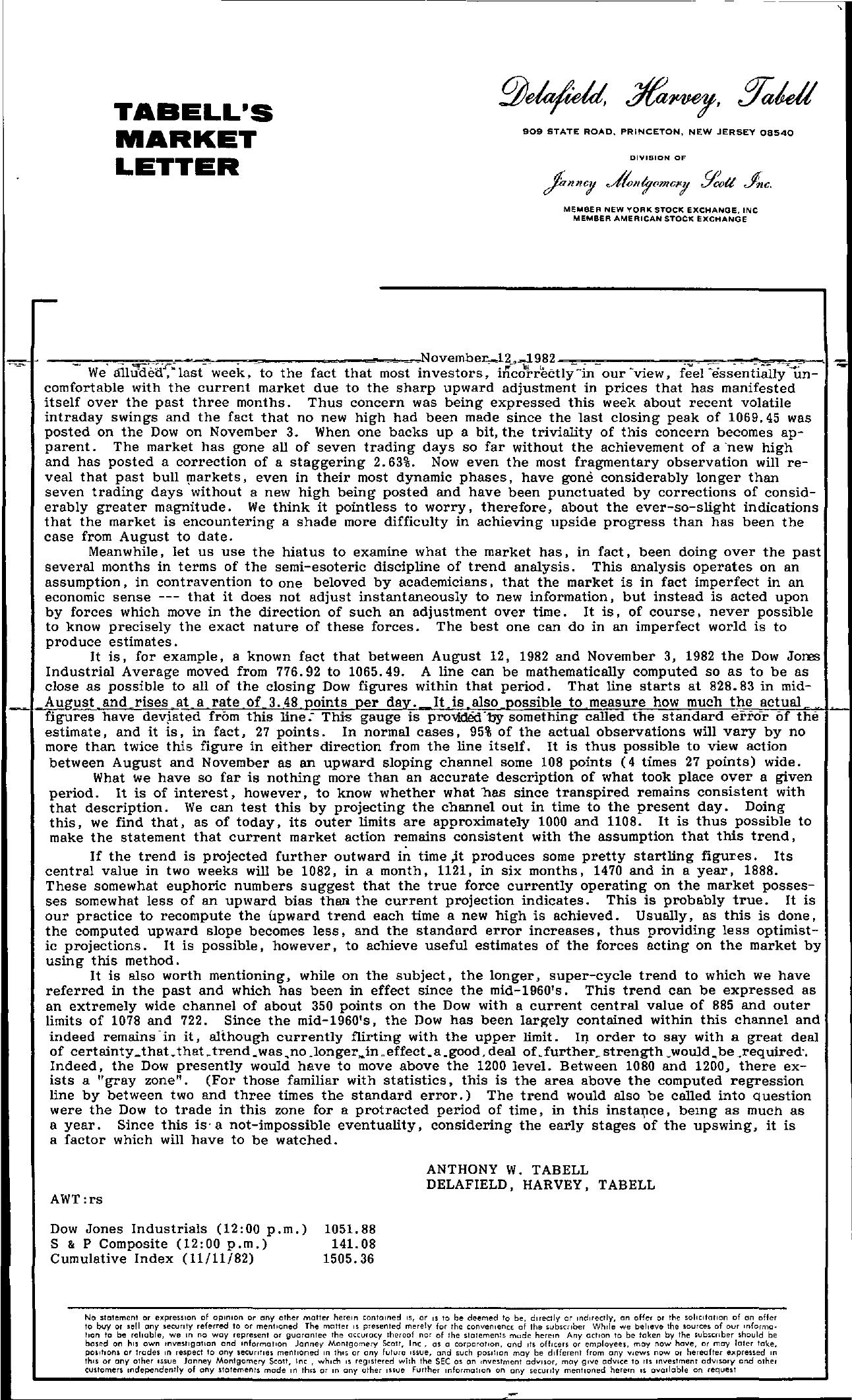 Tabell's Market Letter - November 12, 1982