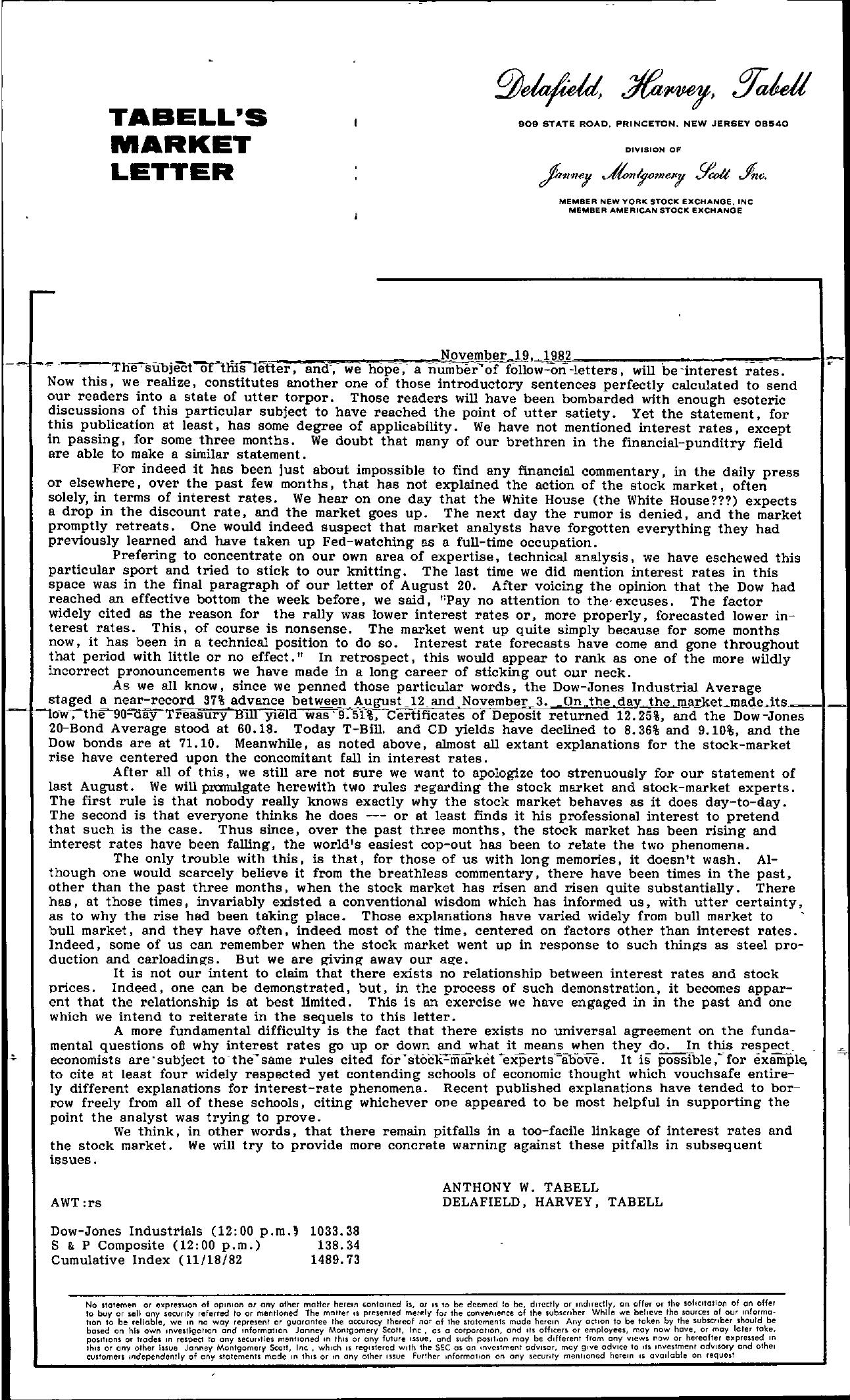 Tabell's Market Letter - November 19, 1982