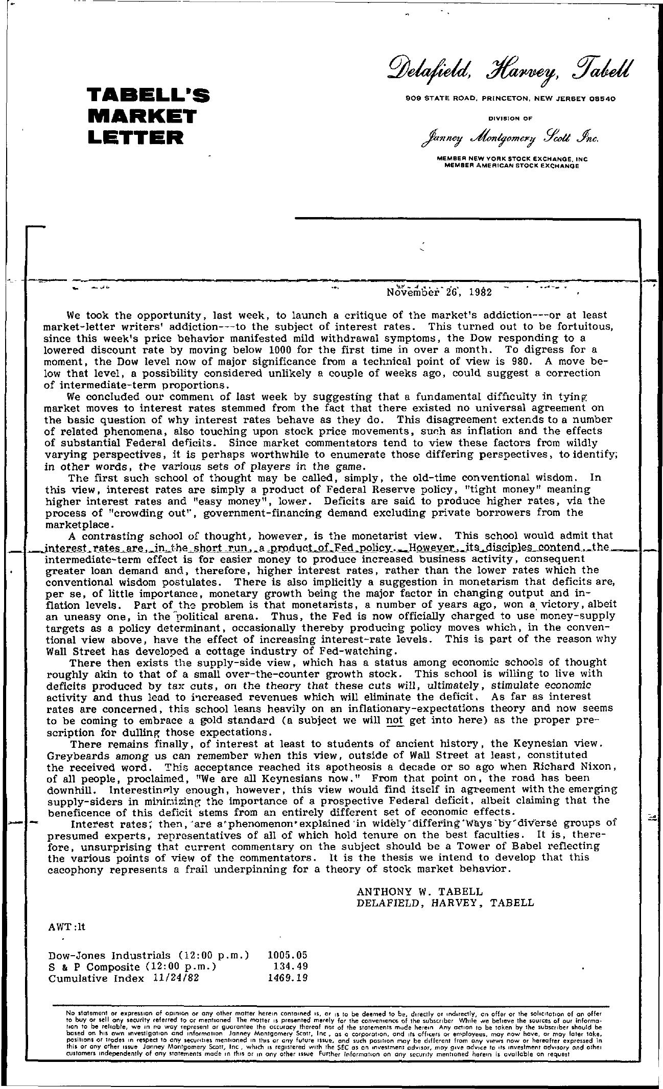 Tabell's Market Letter - November 26, 1982