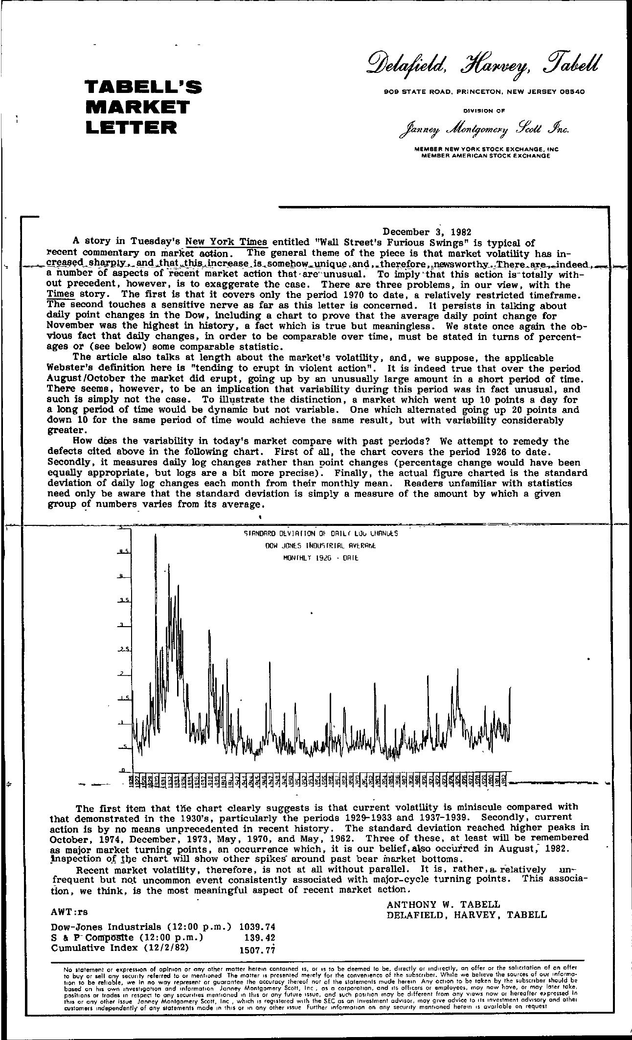 Tabell's Market Letter - December 03, 1982