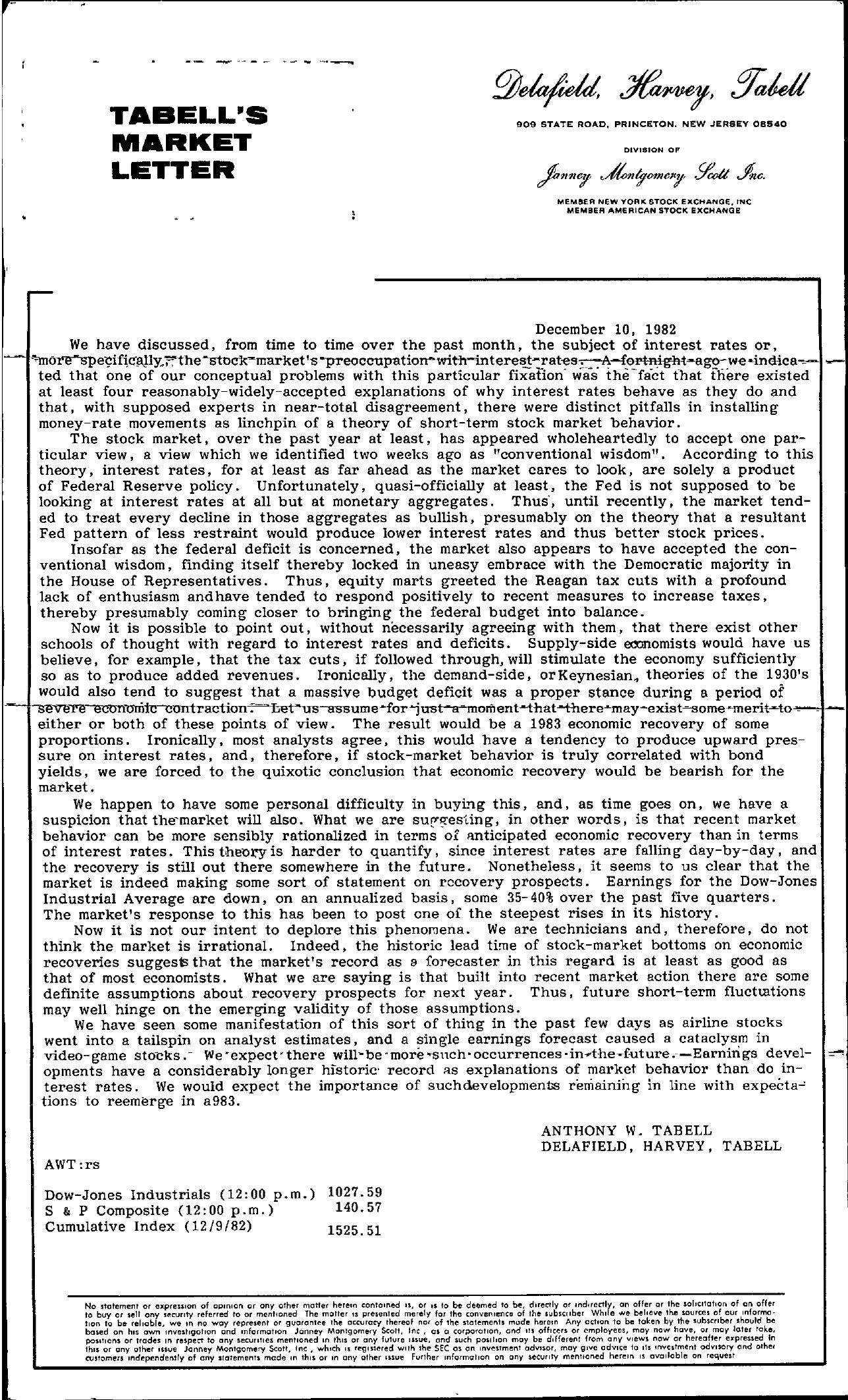 Tabell's Market Letter - December 10, 1982