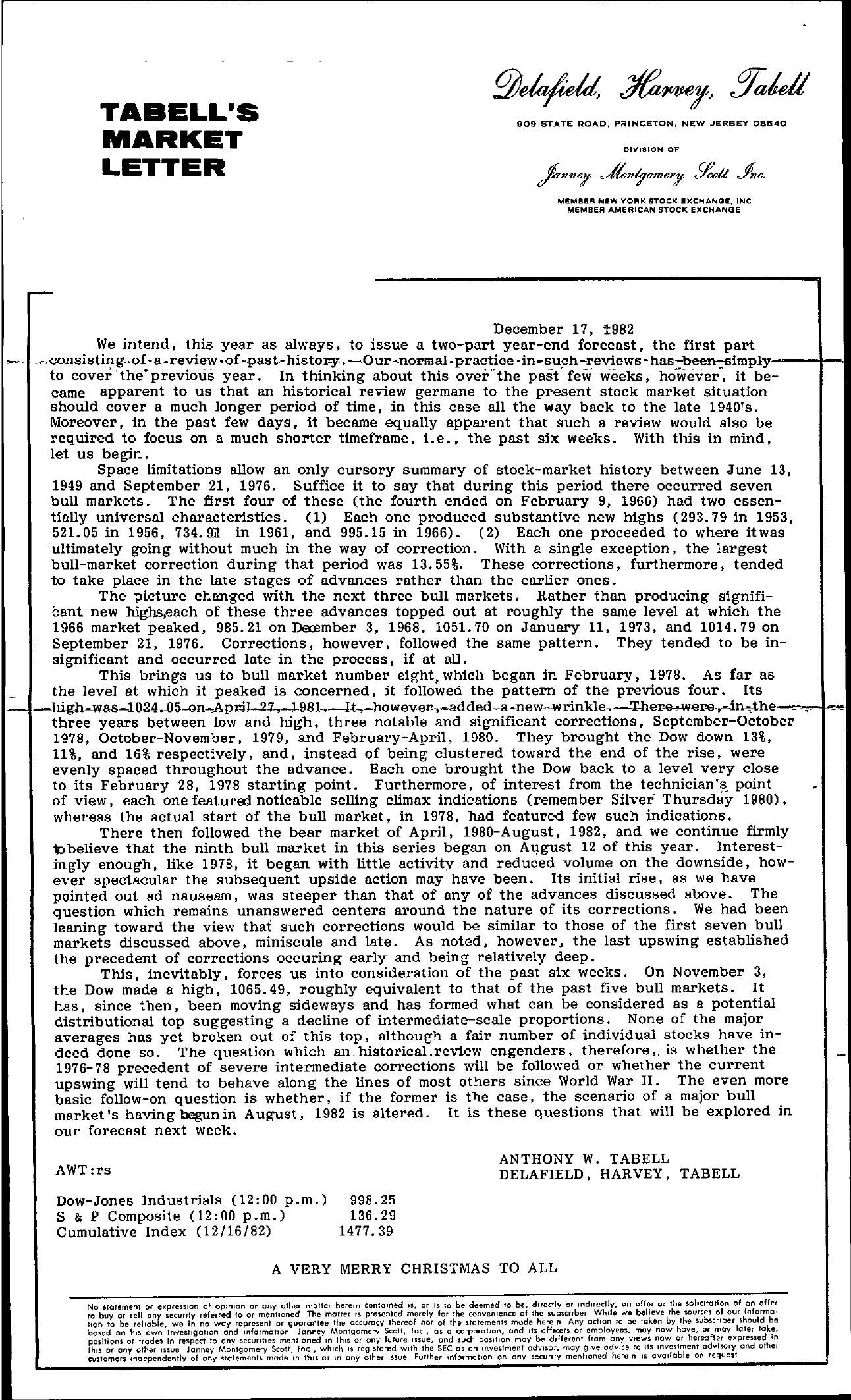 Tabell's Market Letter - December 17, 1982