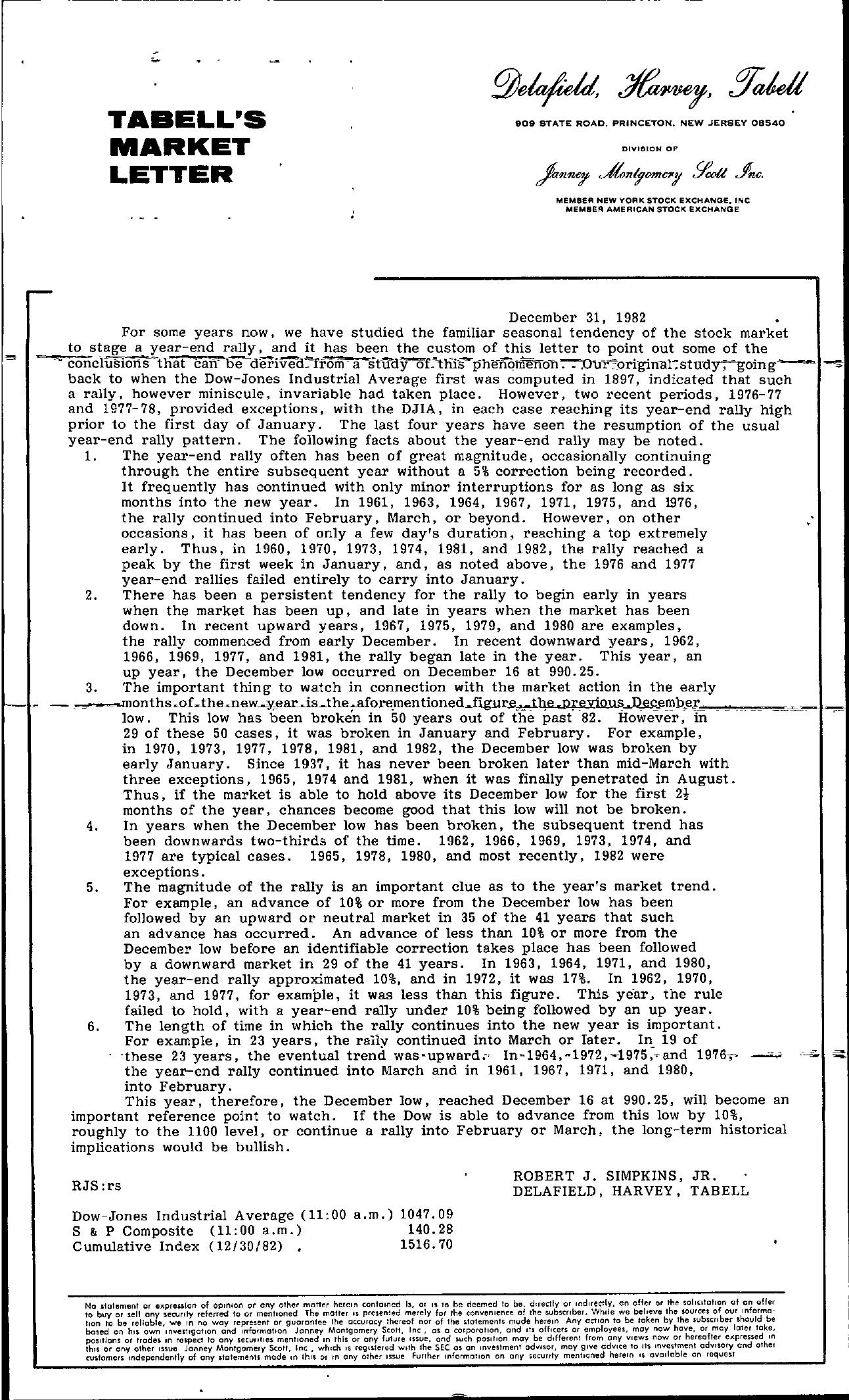 Tabell's Market Letter - December 31, 1982