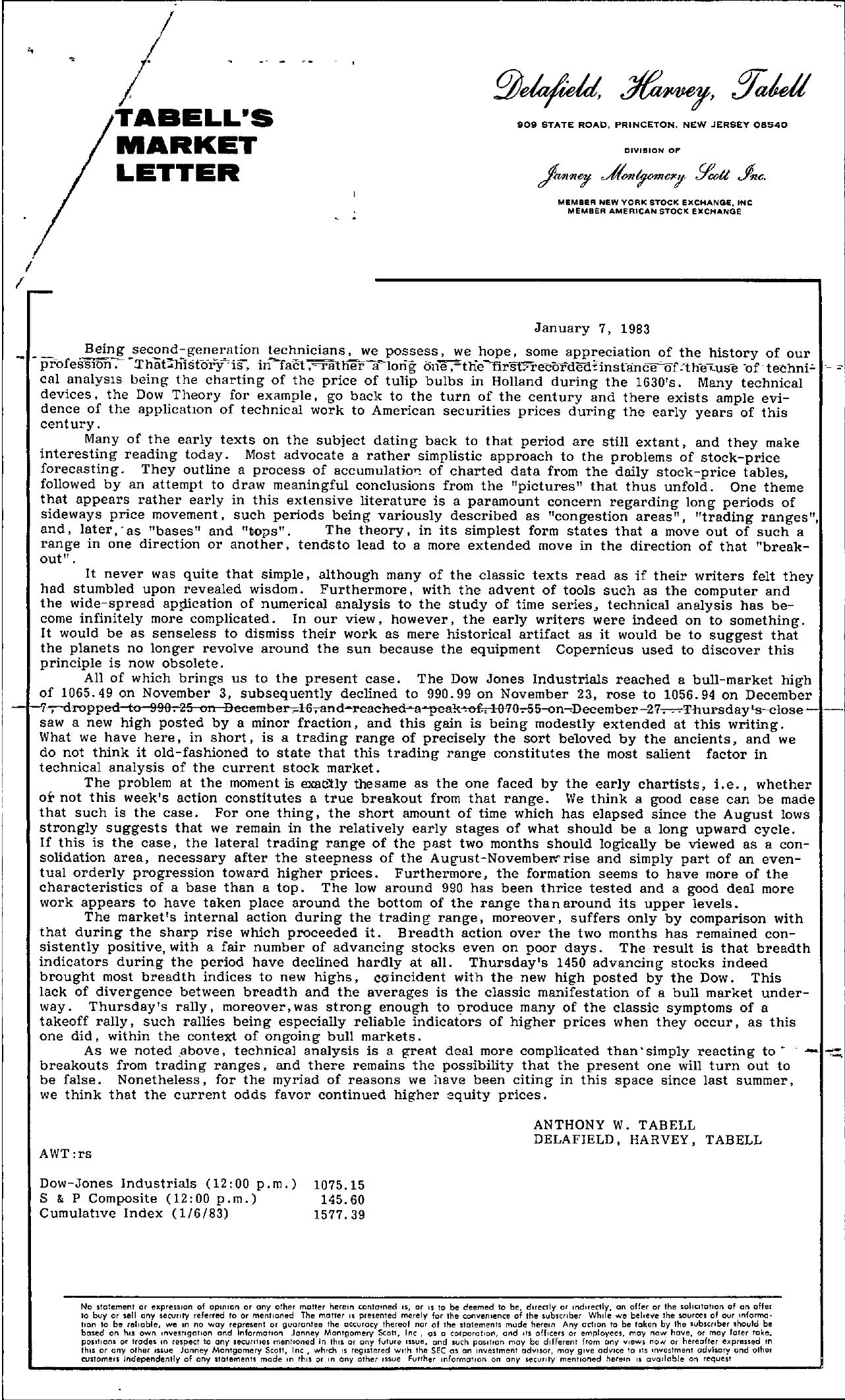 Tabell's Market Letter - January 07, 1983