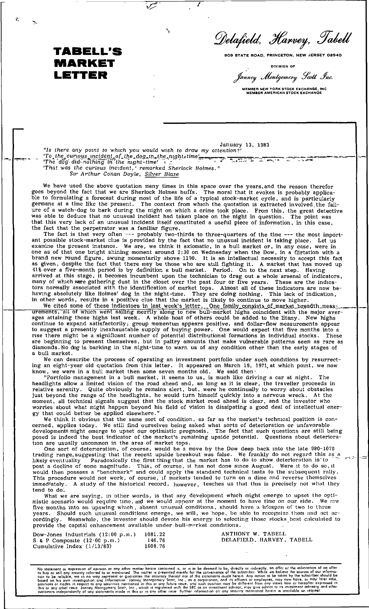 Tabell's Market Letter - January 13, 1983