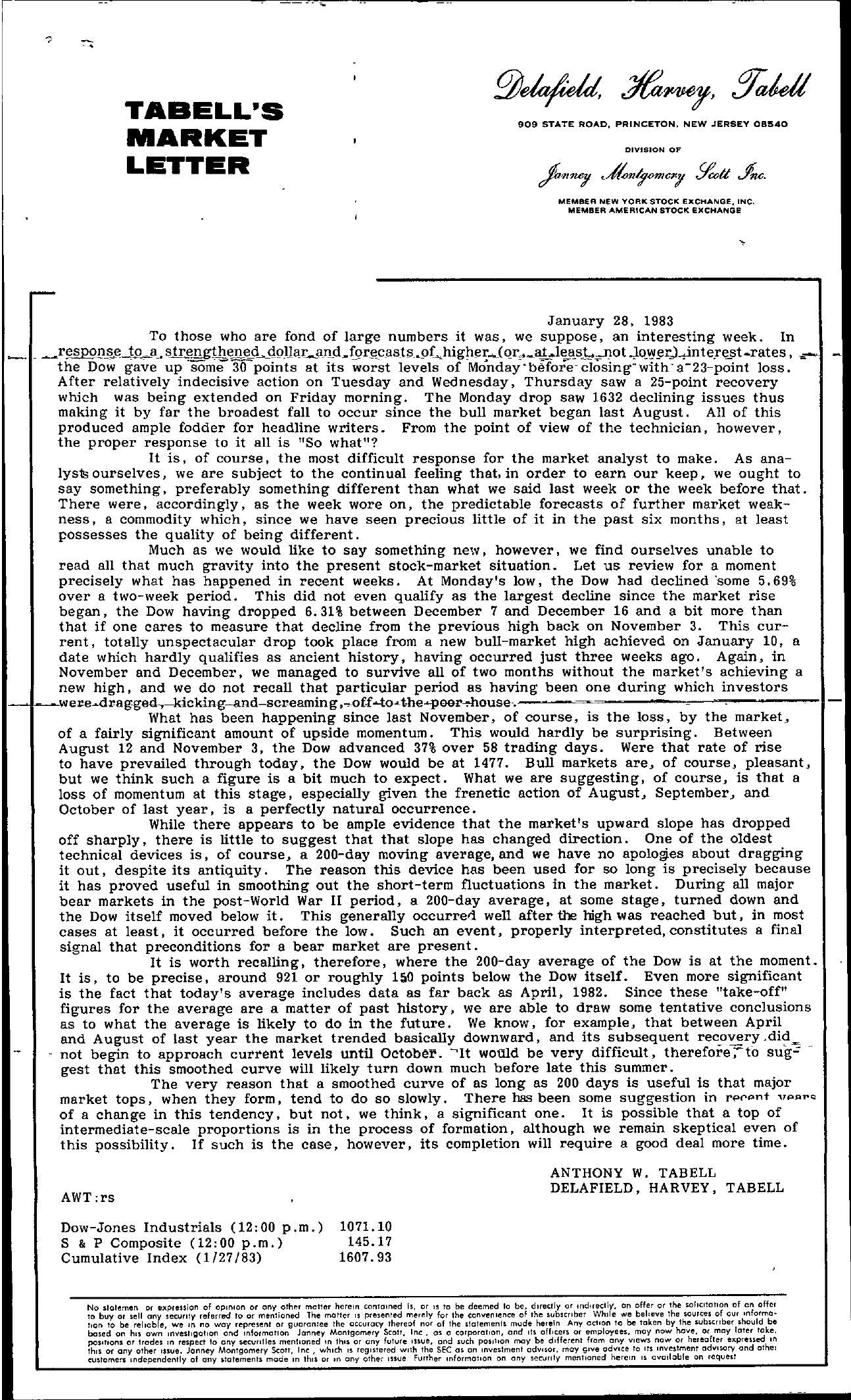 Tabell's Market Letter - January 28, 1983