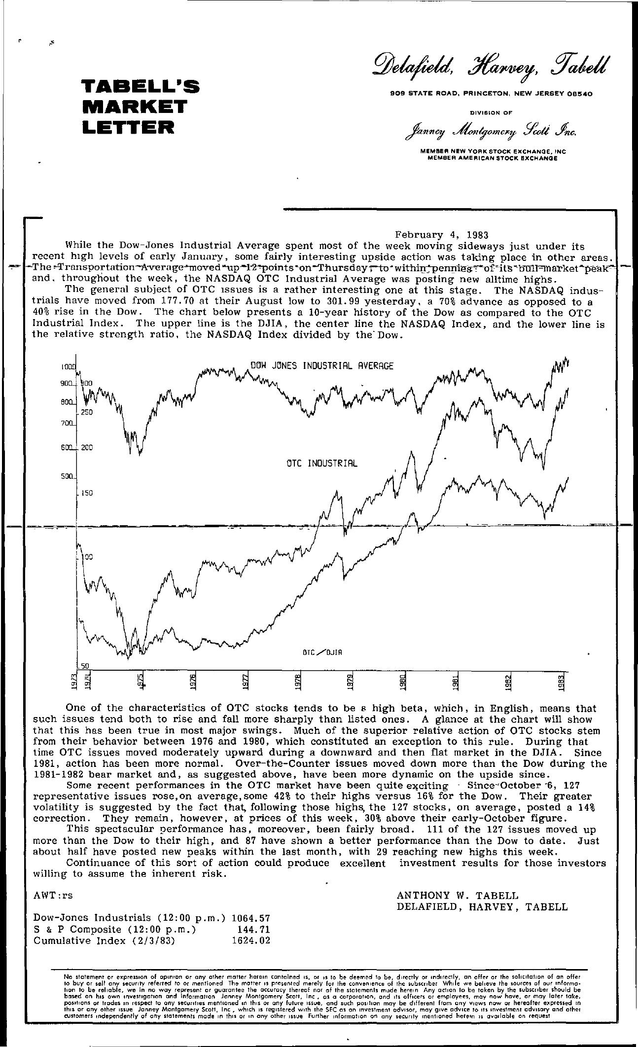 Tabell's Market Letter - February 04, 1983