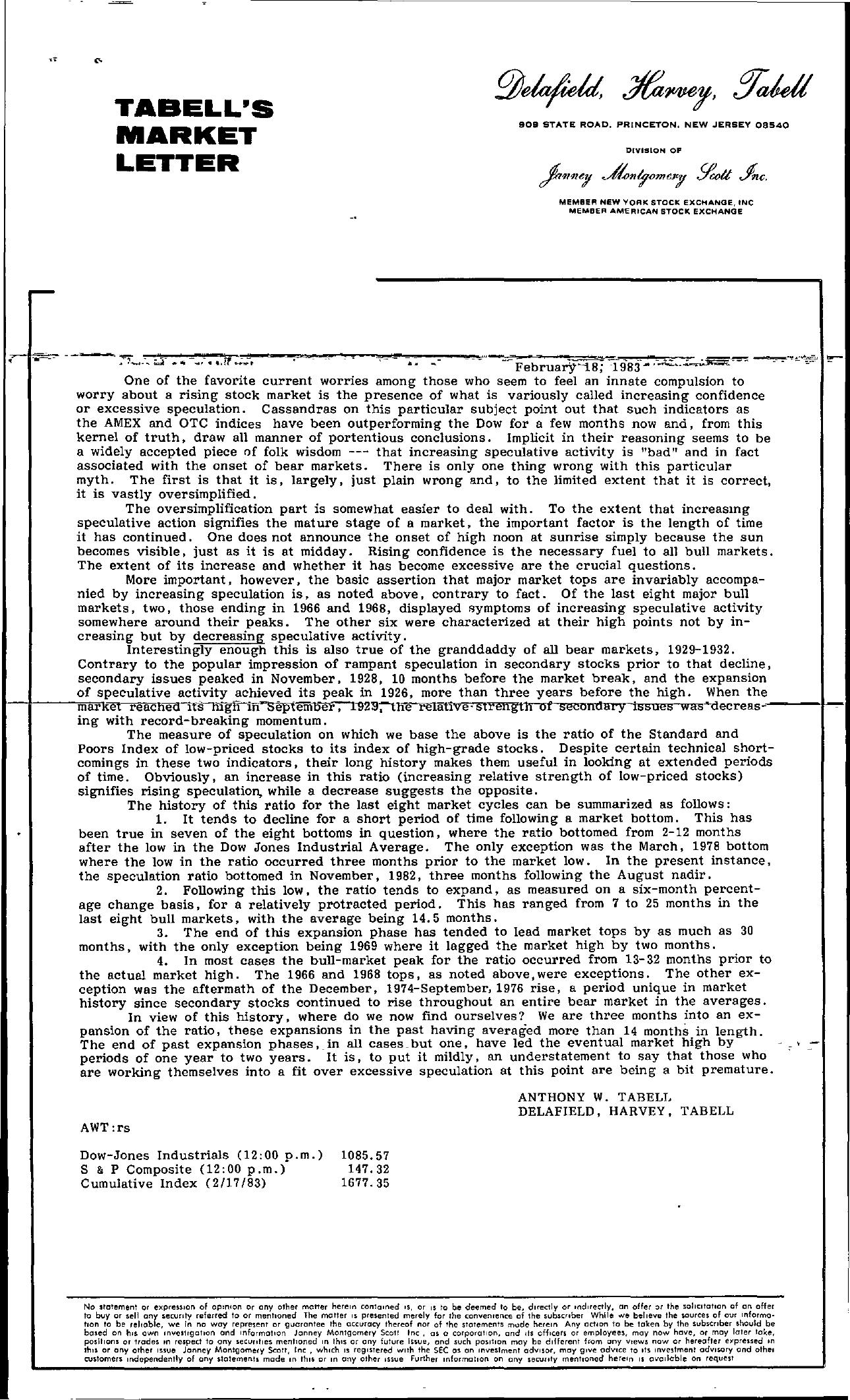 Tabell's Market Letter - February 18, 1983