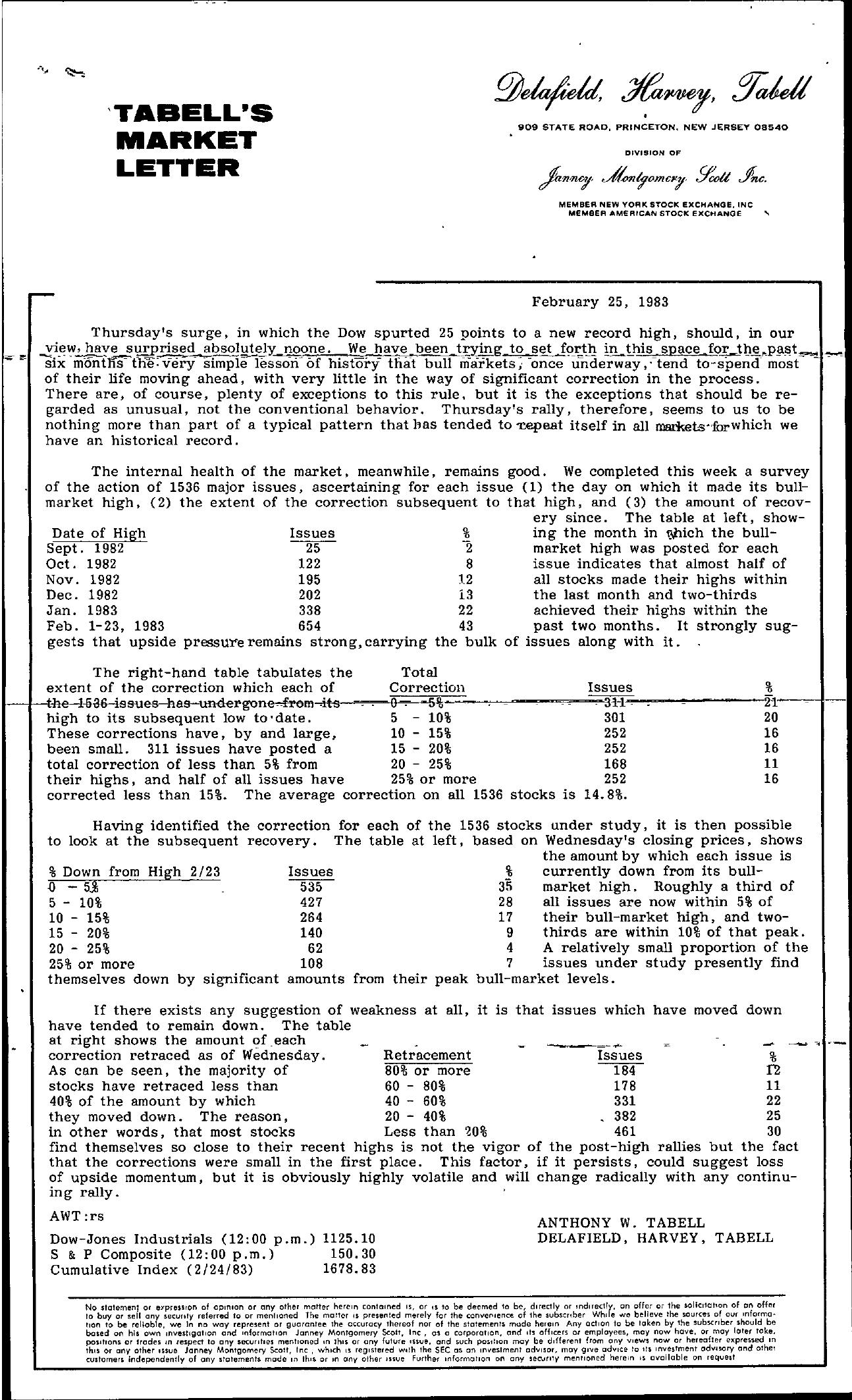 Tabell's Market Letter - February 25, 1983