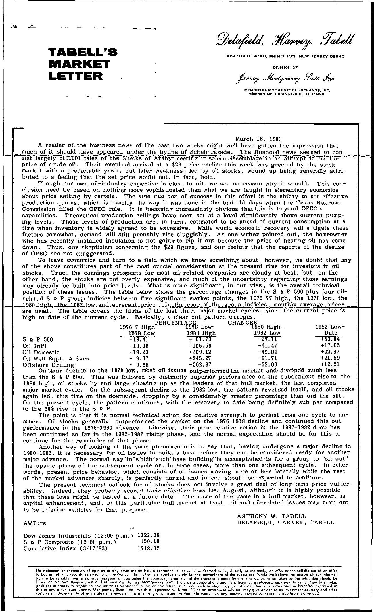 Tabell's Market Letter - March 18, 1983