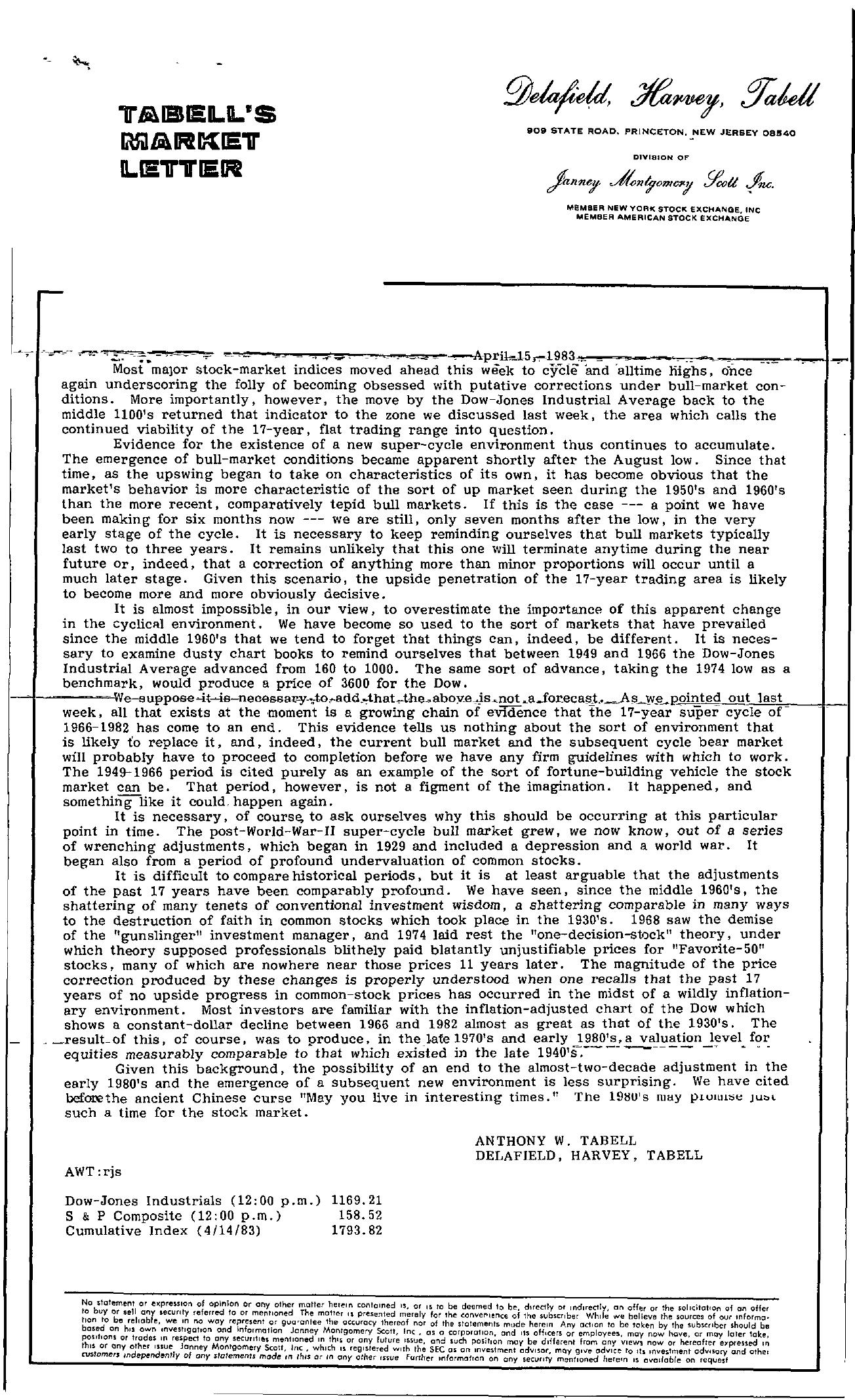 Tabell's Market Letter - April 15, 1983