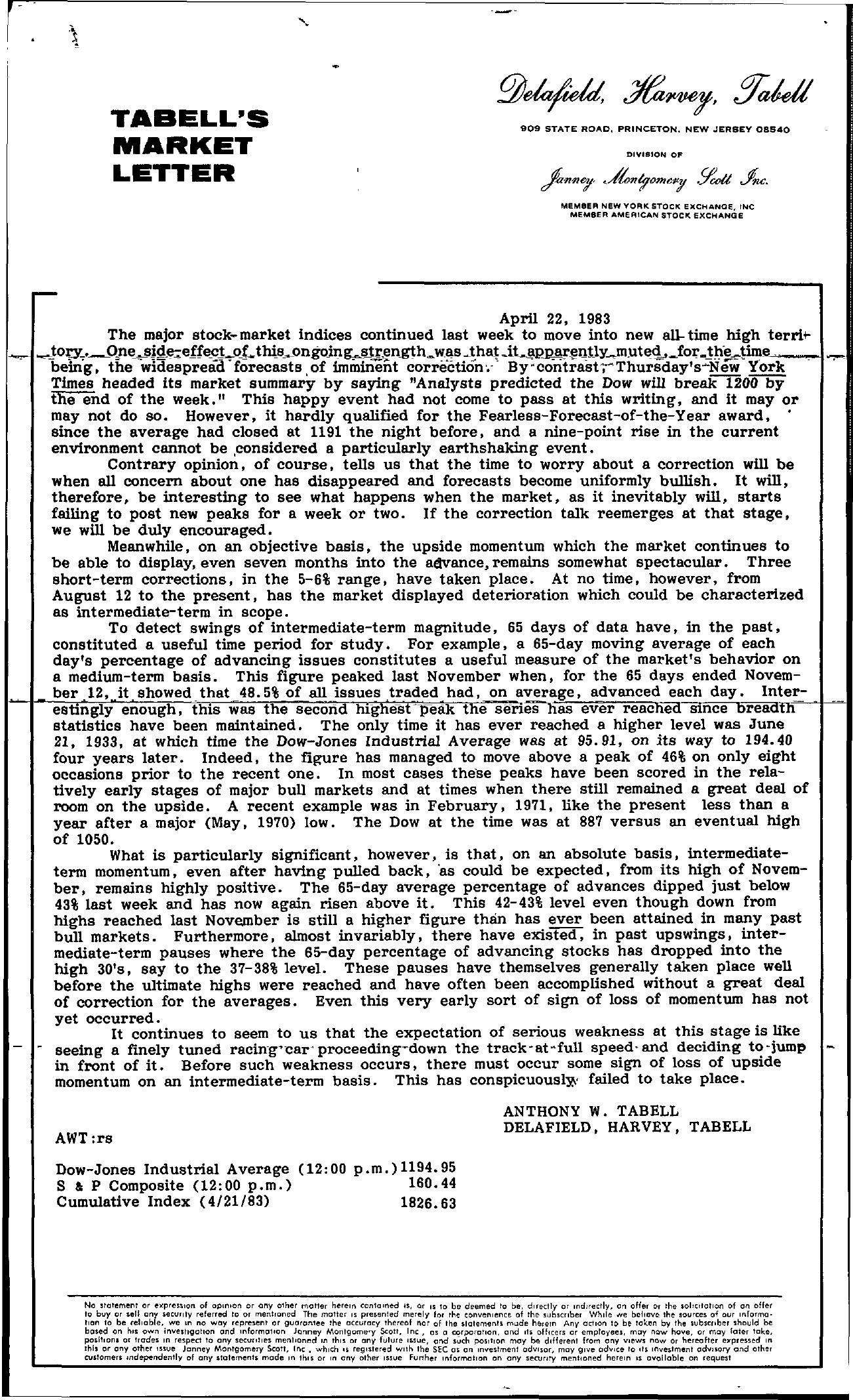 Tabell's Market Letter - April 22, 1983