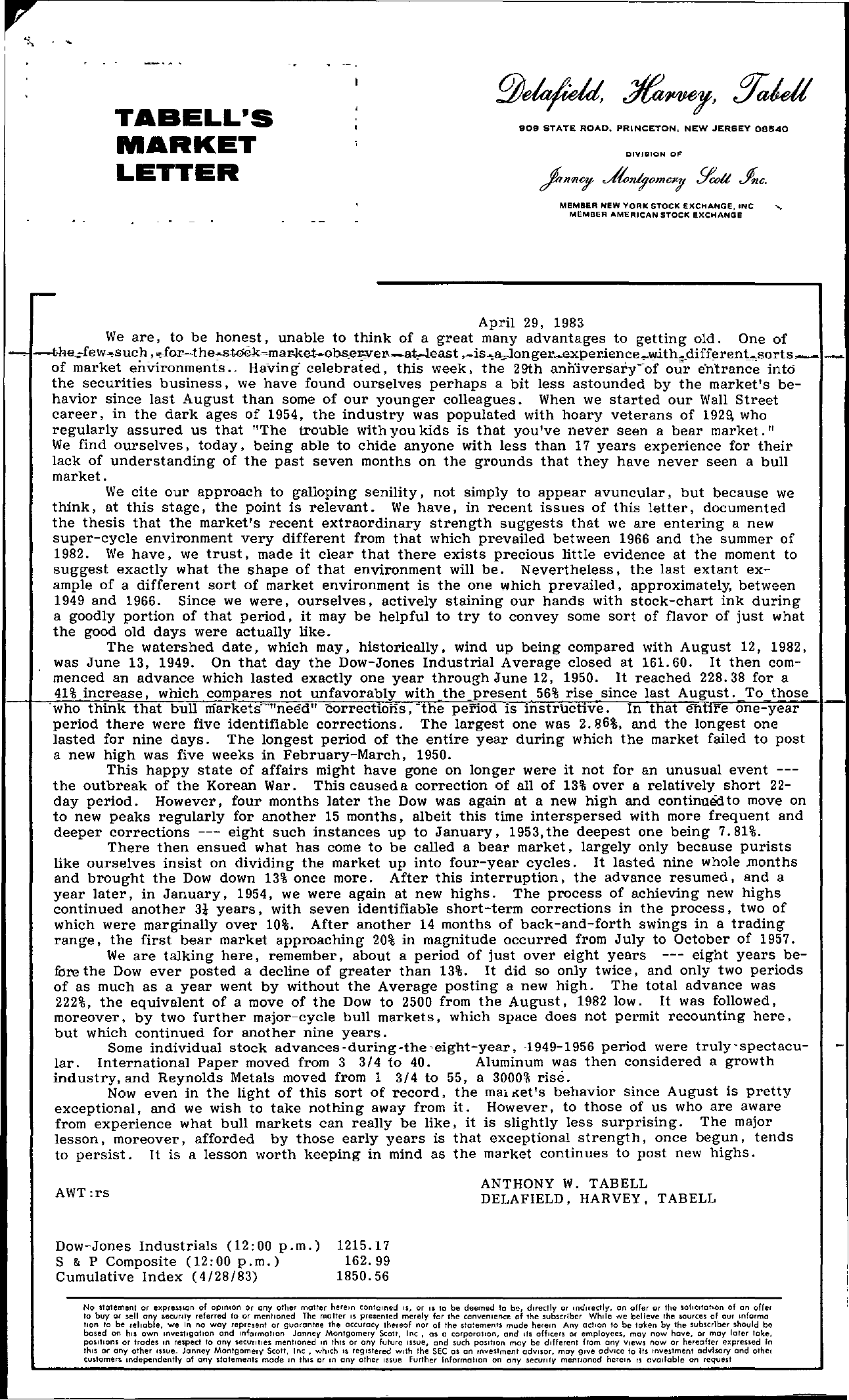 Tabell's Market Letter - April 29, 1983