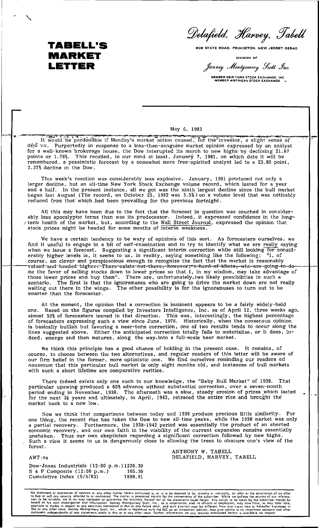 Tabell's Market Letter - May 06, 1983