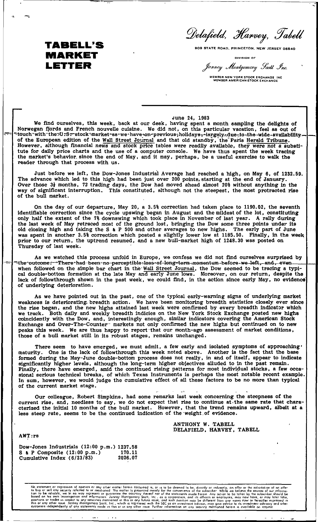 Tabell's Market Letter - June 24, 1983
