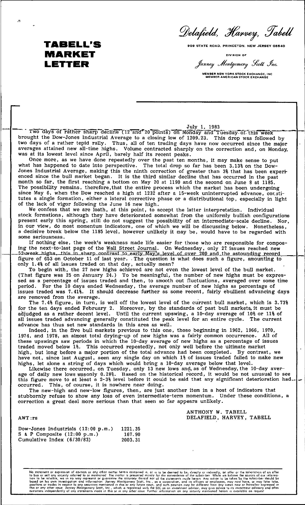 Tabell's Market Letter - July 01, 1983