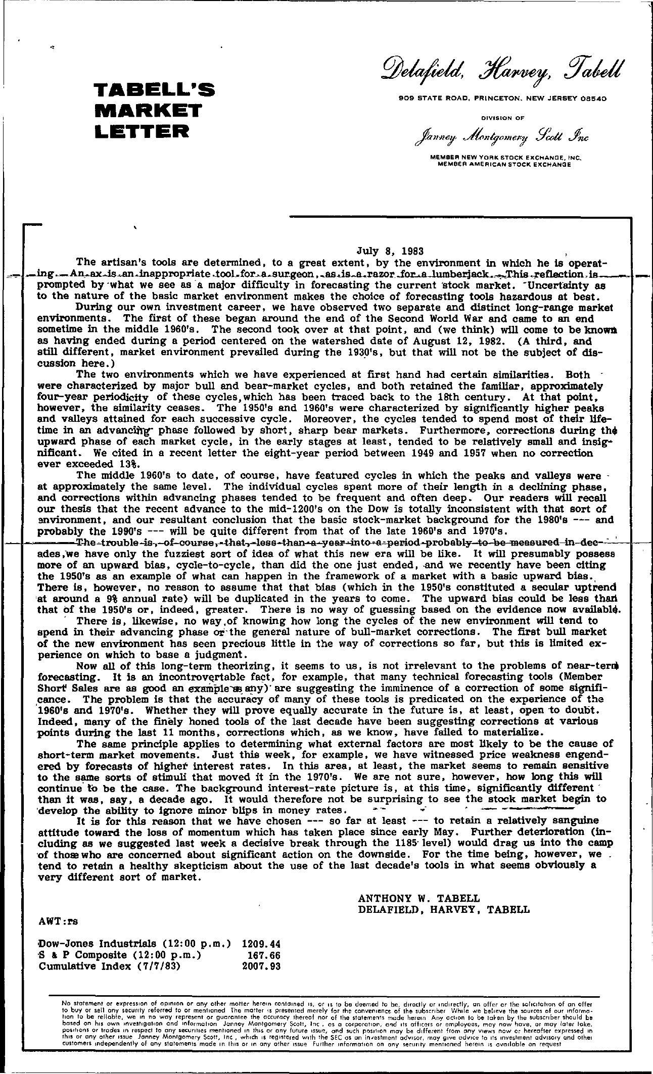 Tabell's Market Letter - July 08, 1983